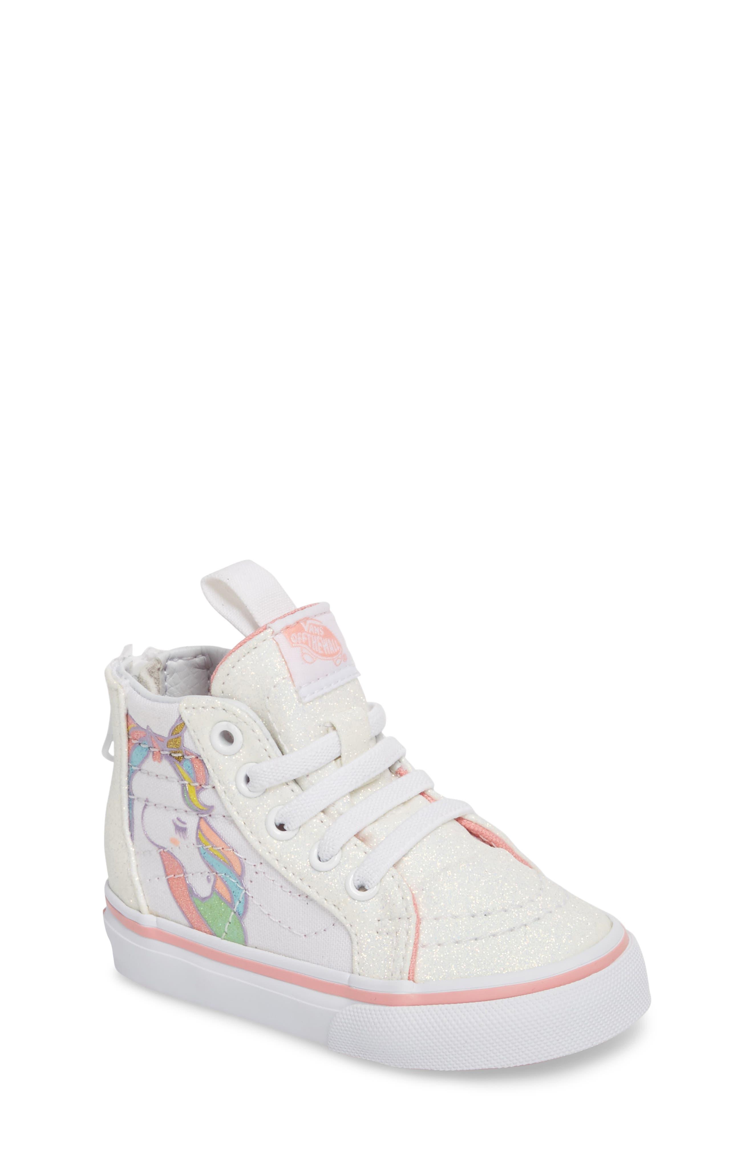SK8-Hi Zip Glitter Unicorn Sneaker,                         Main,                         color, Unicorn Rainbow/ White Glitter