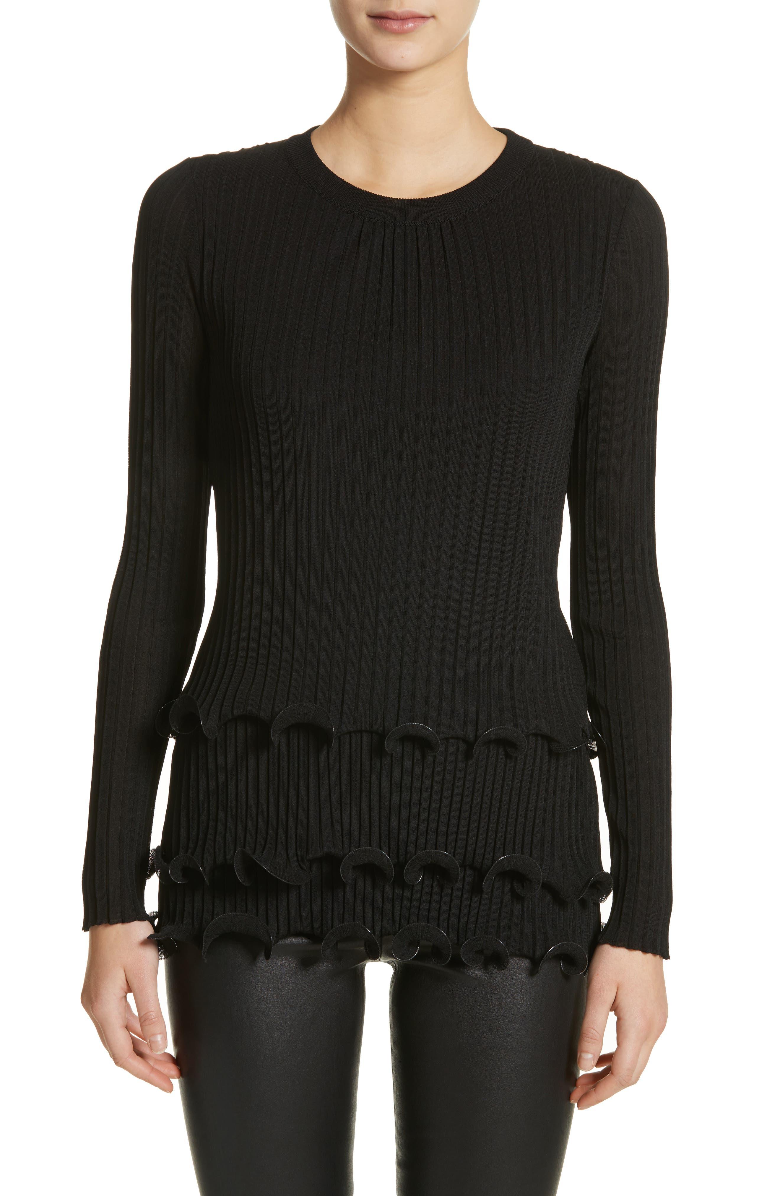 Main Image - Givenchy Ruffle Hem Rib Knit Top