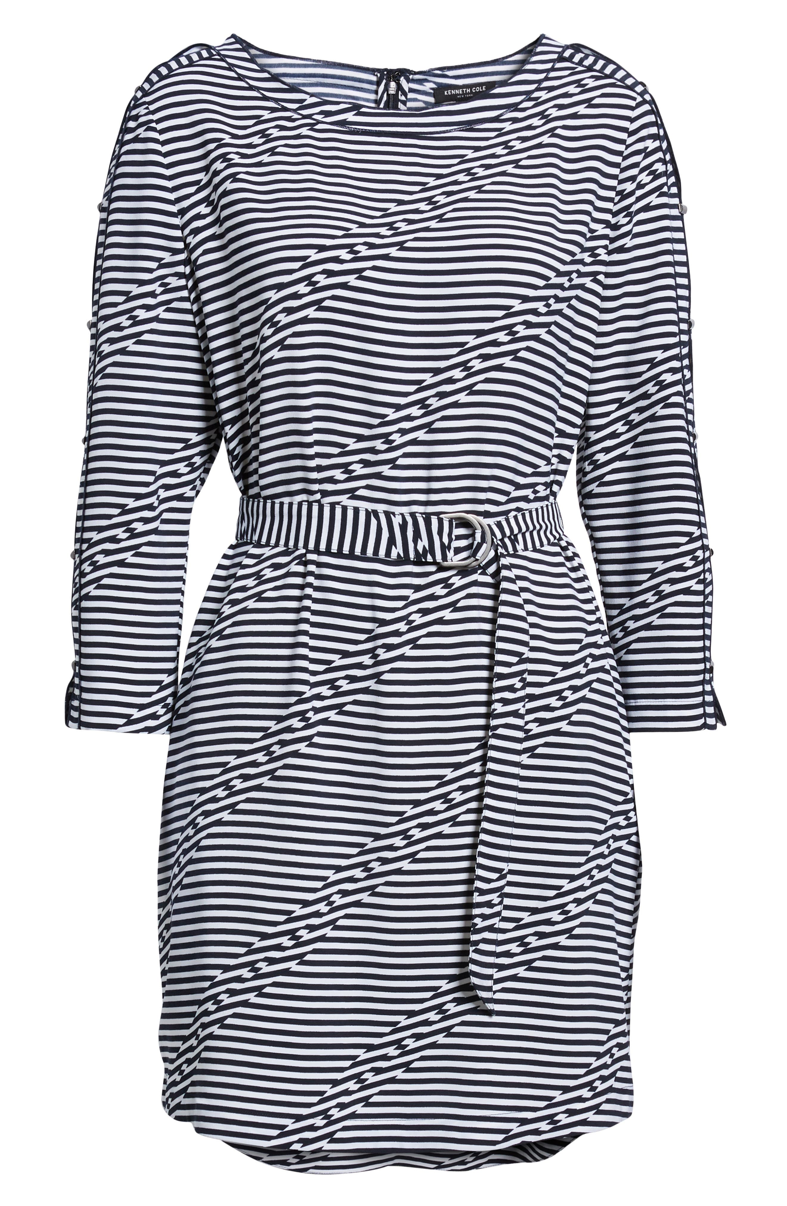 Belted Waist Dress,                             Alternate thumbnail 6, color,                             Offset Stripe Indigo