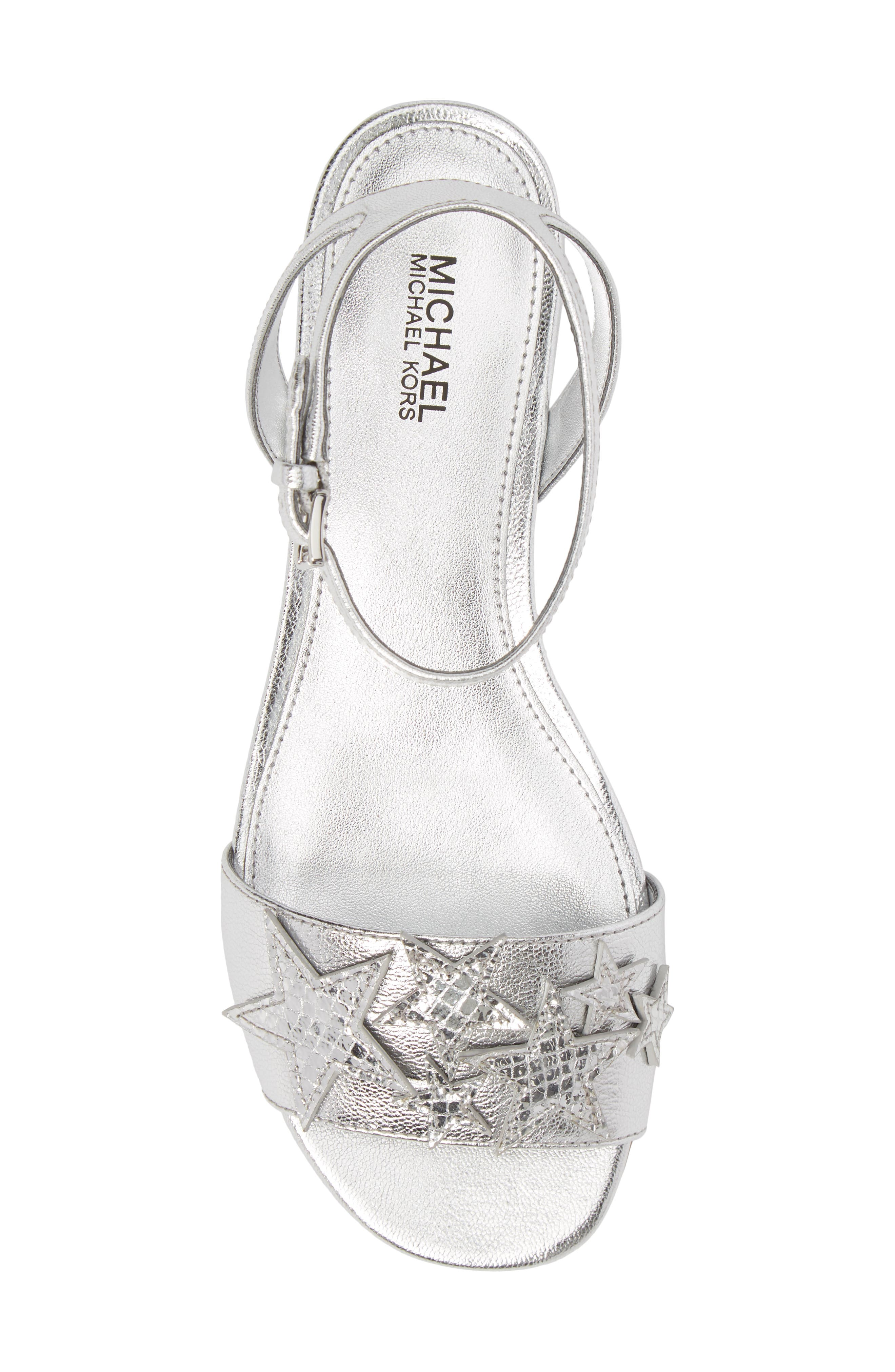 Lexie Star Embellished Sandal,                             Alternate thumbnail 5, color,                             Silver Nappa Leather