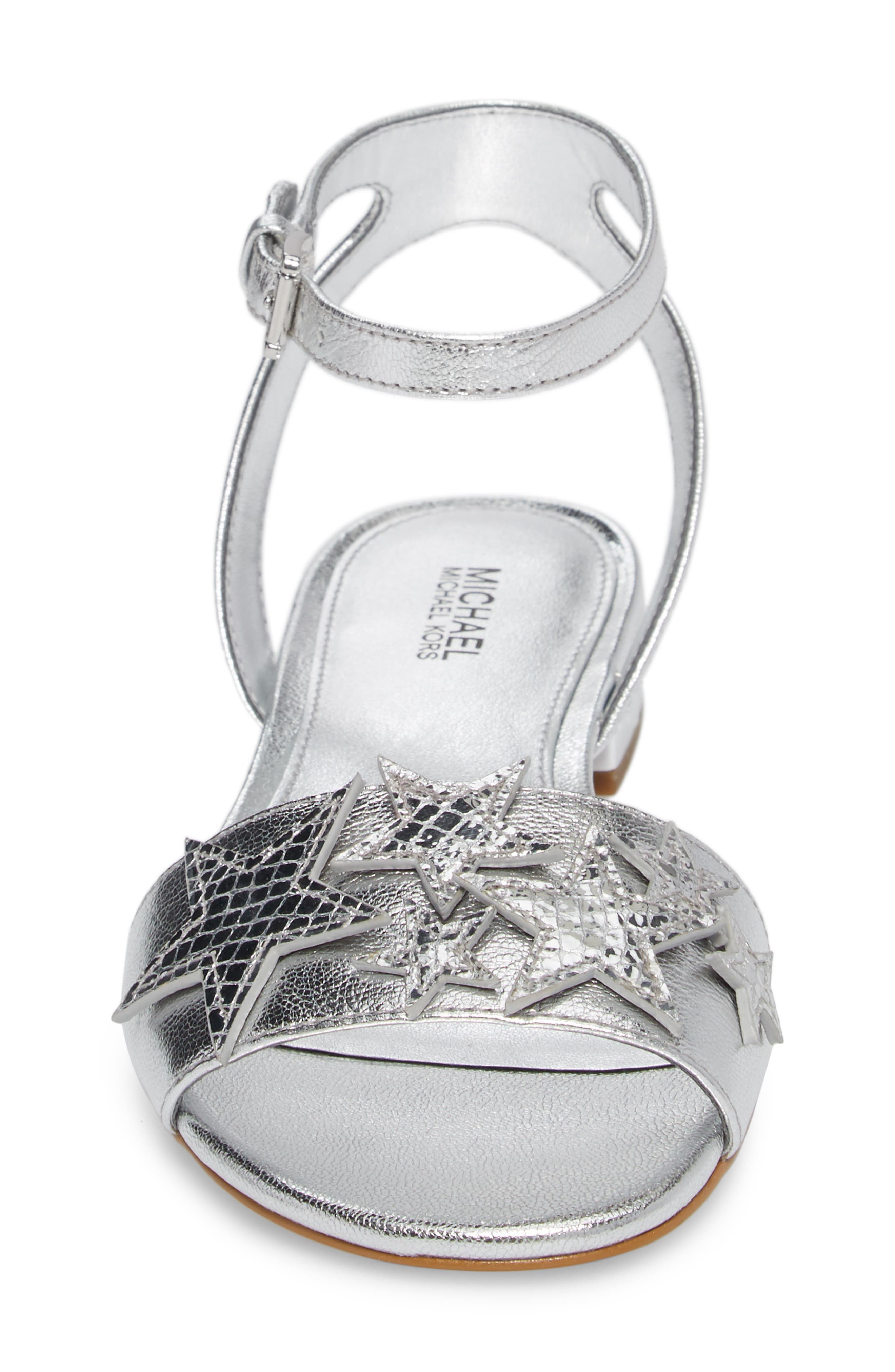 Lexie Star Embellished Sandal,                             Alternate thumbnail 4, color,                             Silver Nappa Leather