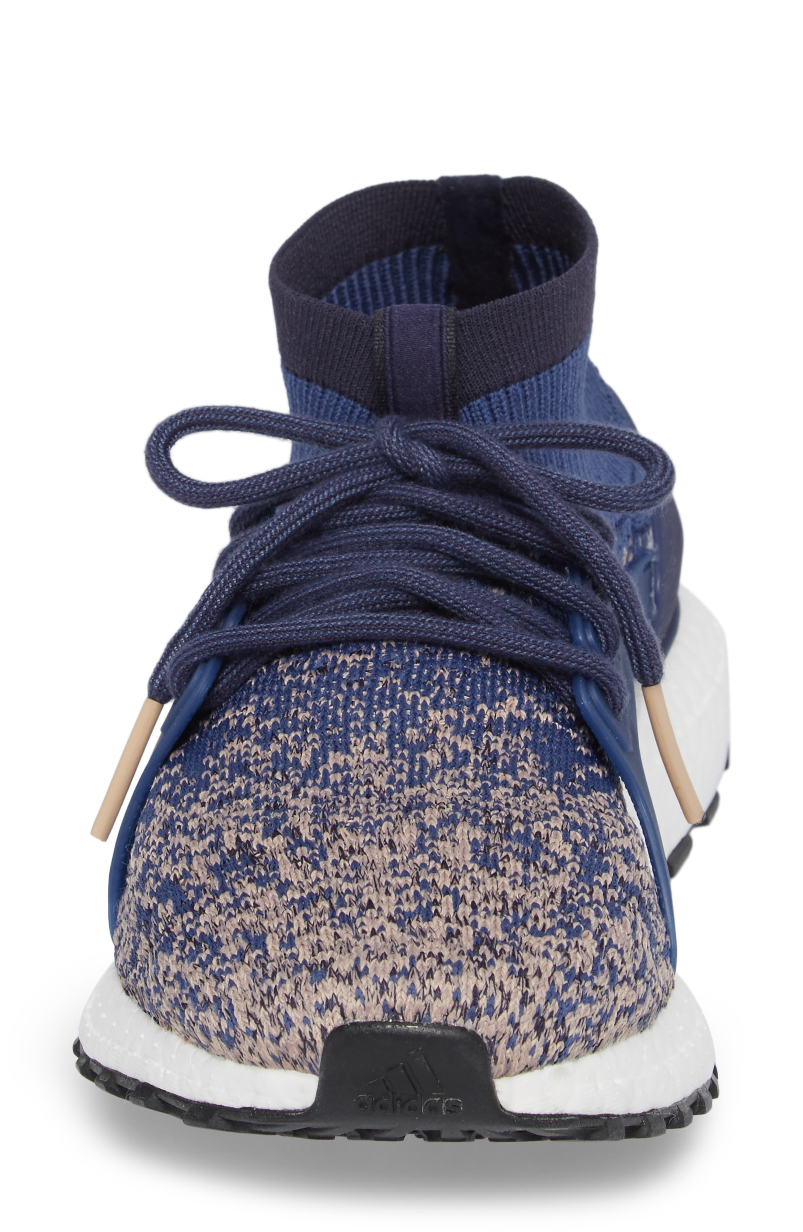 UltraBoost X All Terrain Water Resistant Running Shoe,                             Alternate thumbnail 4, color,                             Noble Indigo/ Noble Indigo