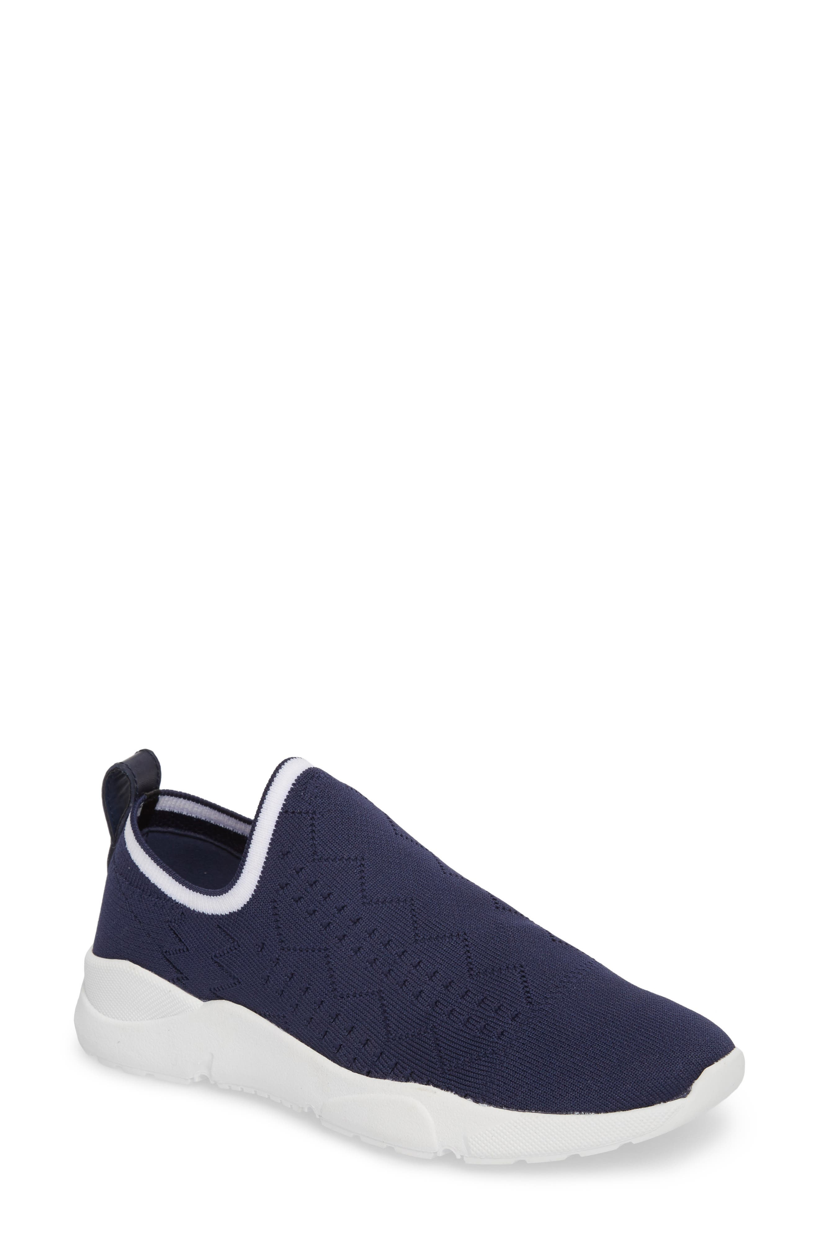 Karrie Slip-On Sneaker,                             Main thumbnail 1, color,                             Navy Stretch Fabric