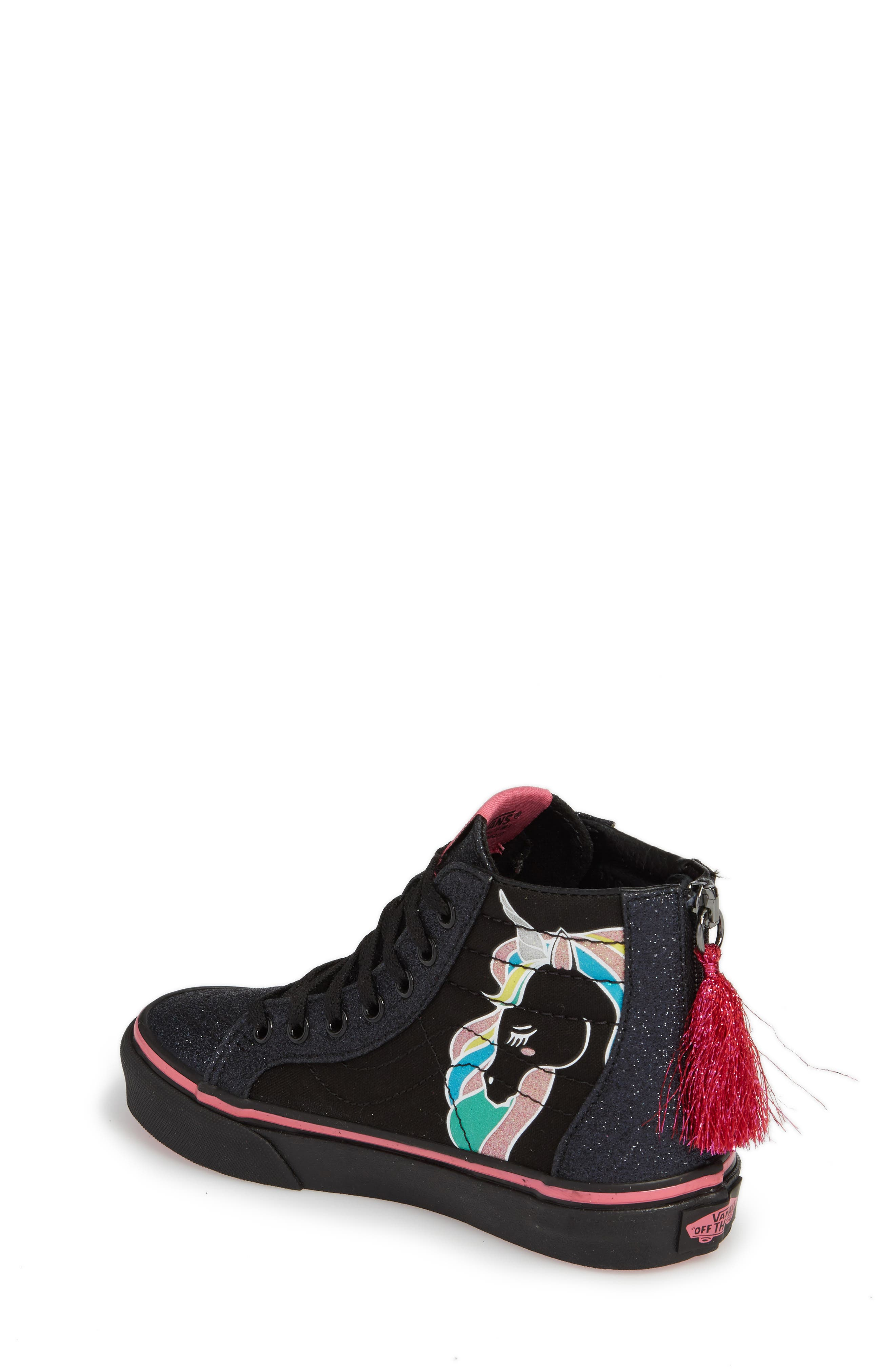 Alternate Image 2  - Vans Sk8-Hi Zip Unicorn Glitter High Top Sneaker (Baby, Walker, Toddler, Little Kid & Big Kid)