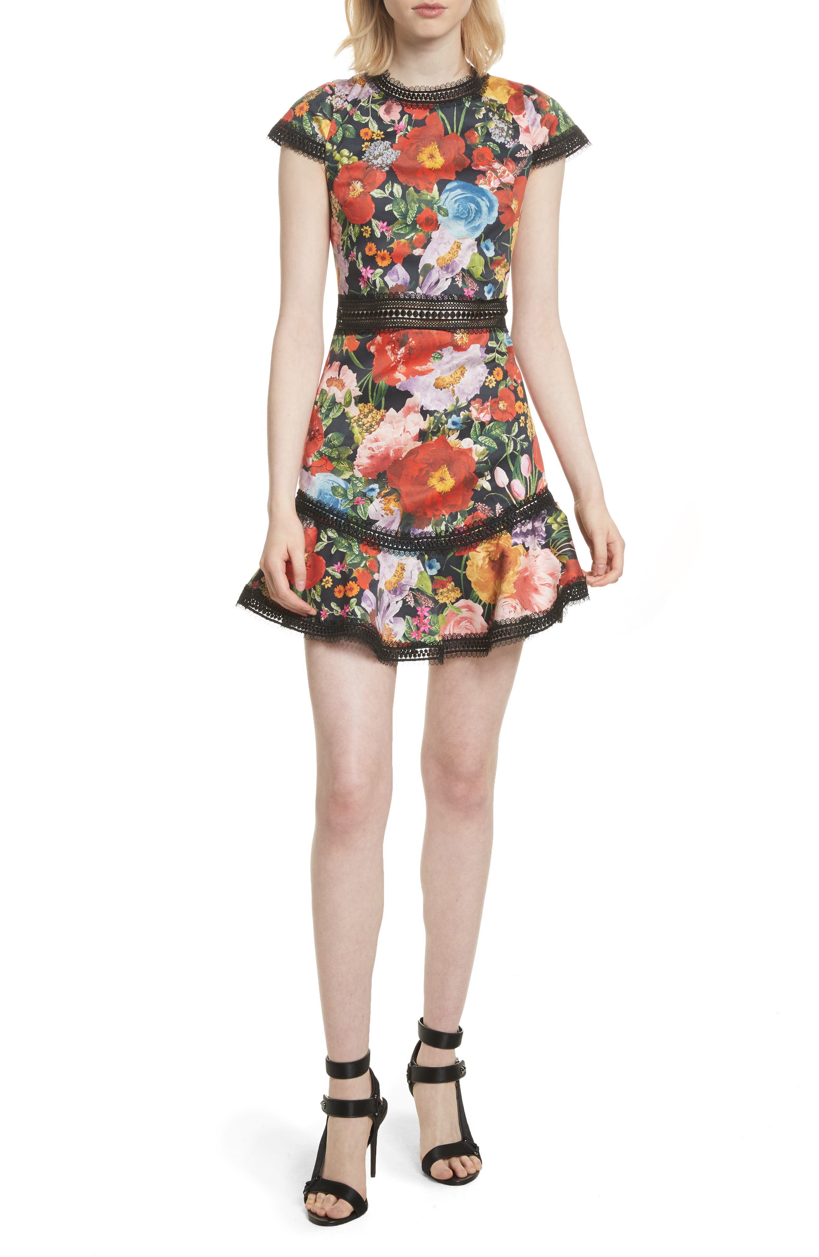 Rapunzel Fit & Flare Dress,                             Main thumbnail 1, color,                             Blooming Garden