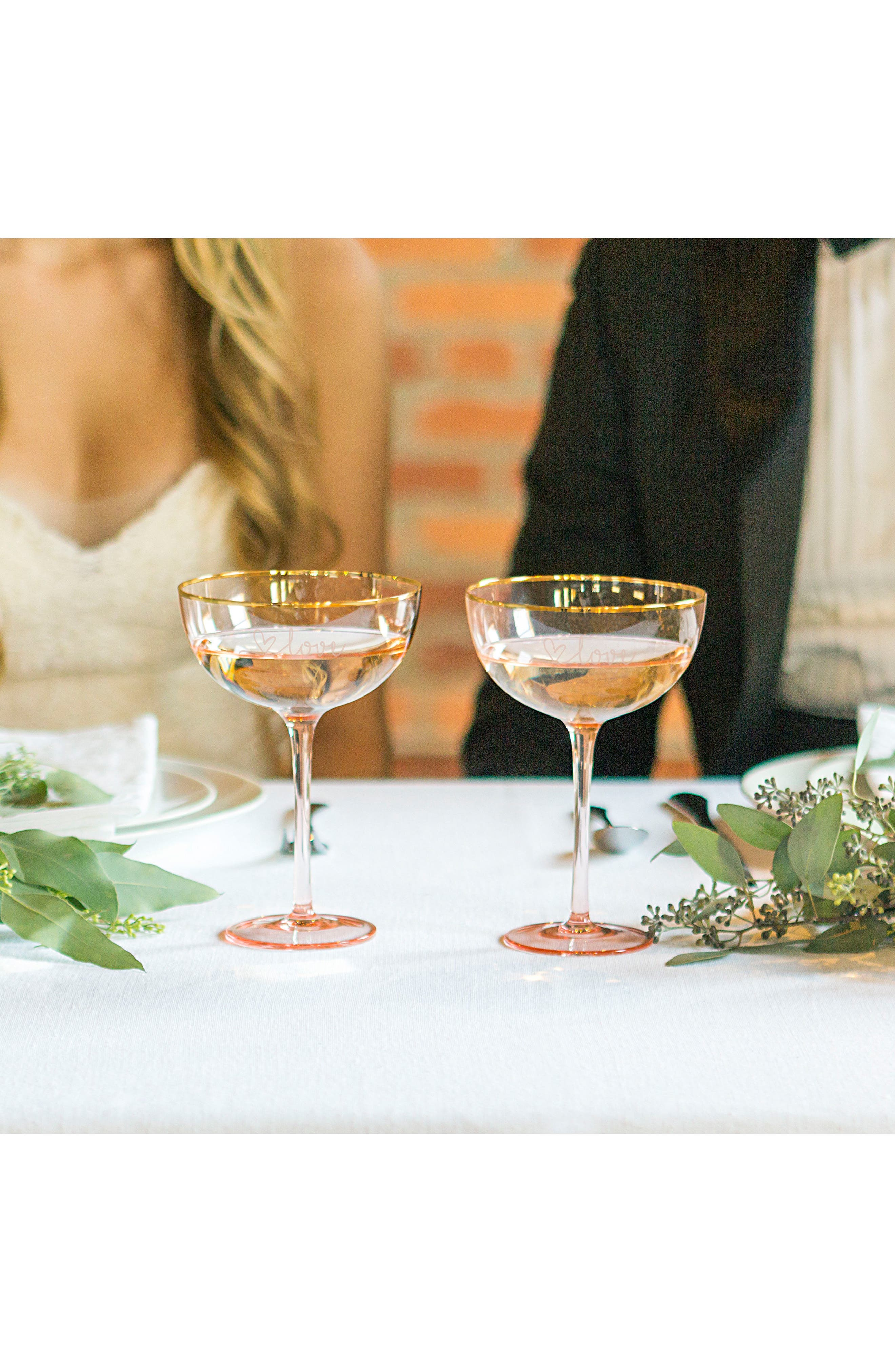 Love Set of 2 Champagne Coupes,                             Alternate thumbnail 4, color,                             Blush