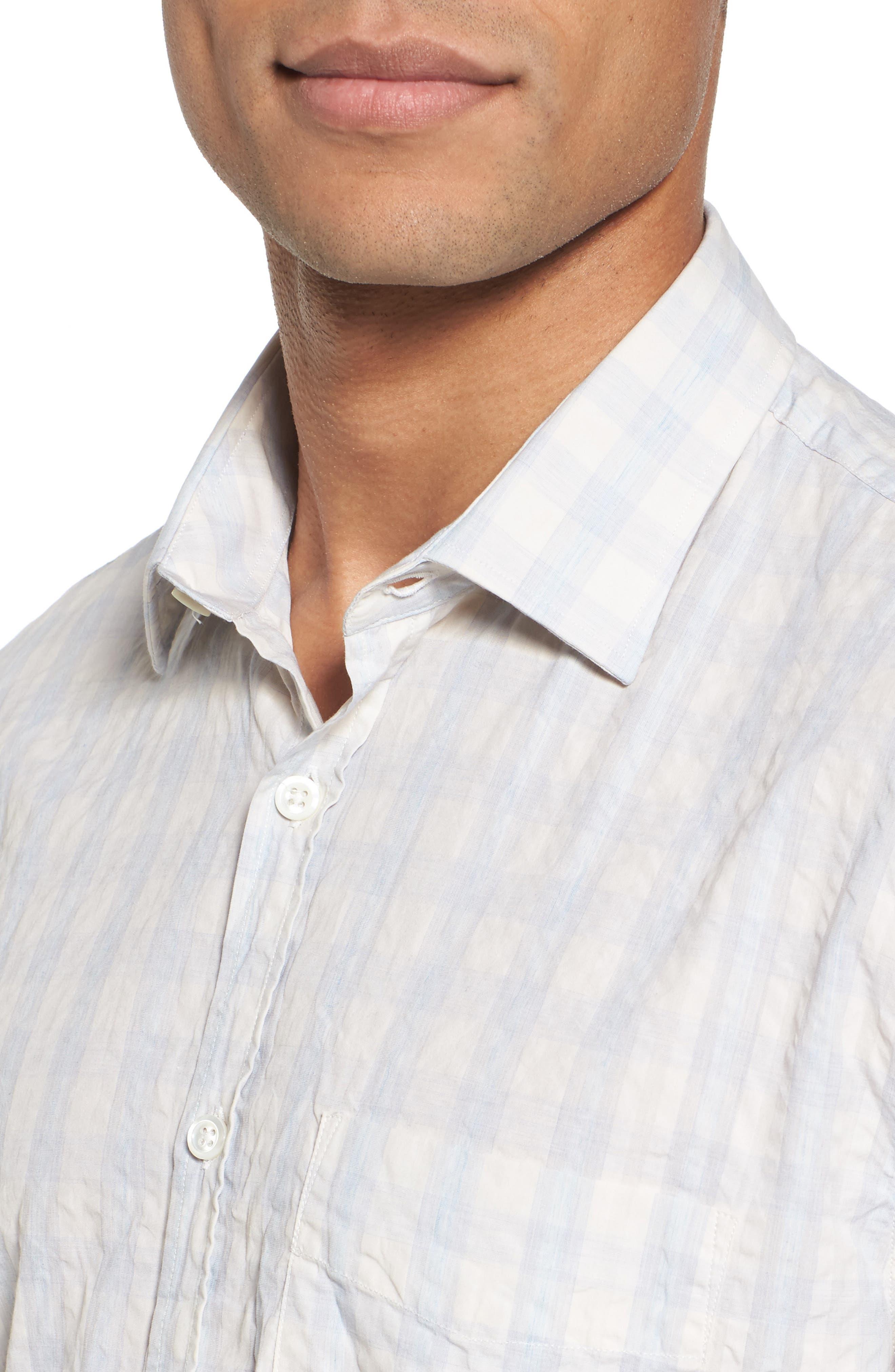 Aubergine Stripe Sport Shirt,                             Alternate thumbnail 4, color,                             White
