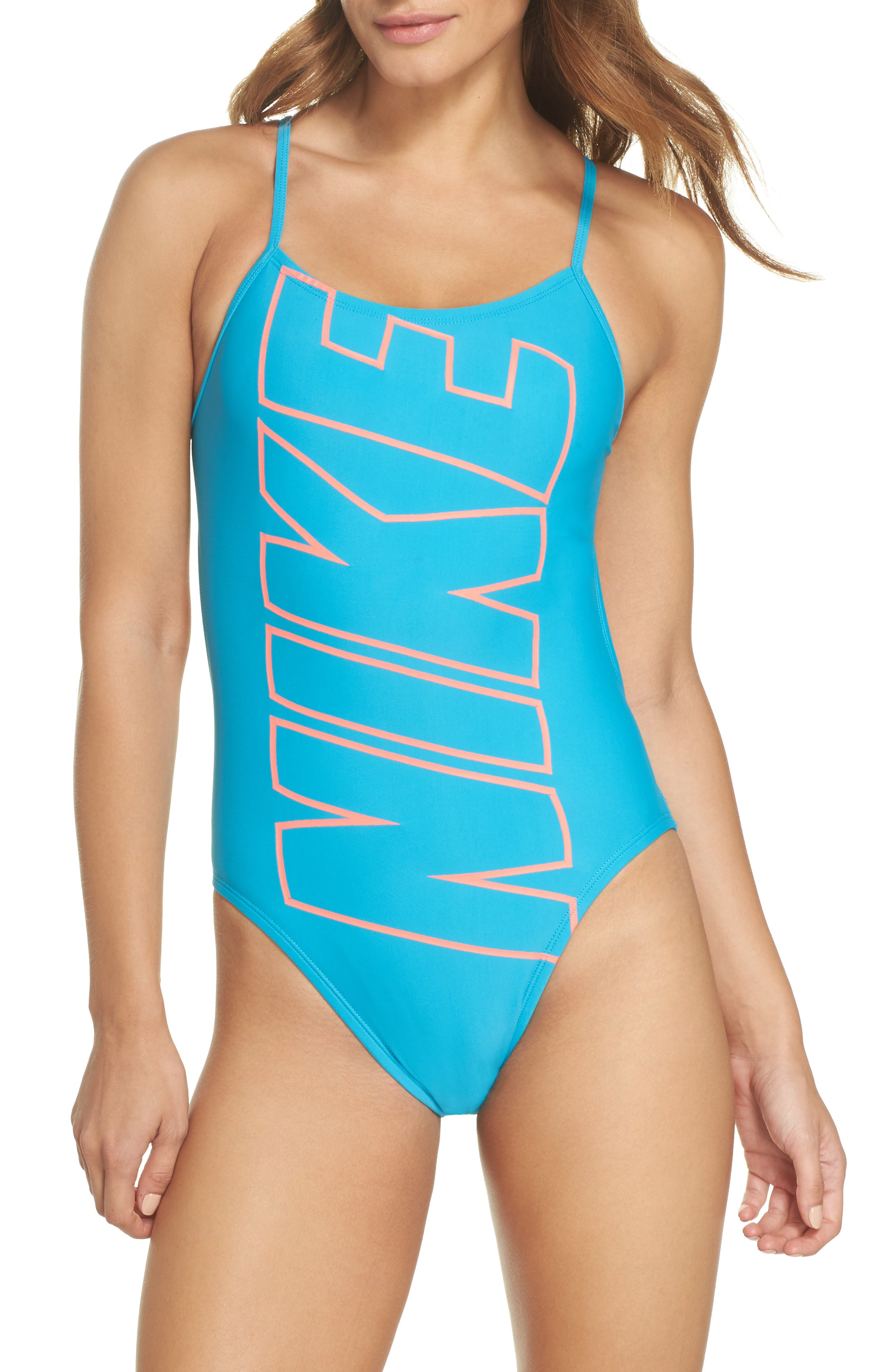 Crossback One-Piece Swimsuit,                             Main thumbnail 1, color,                             Light Blue Fury