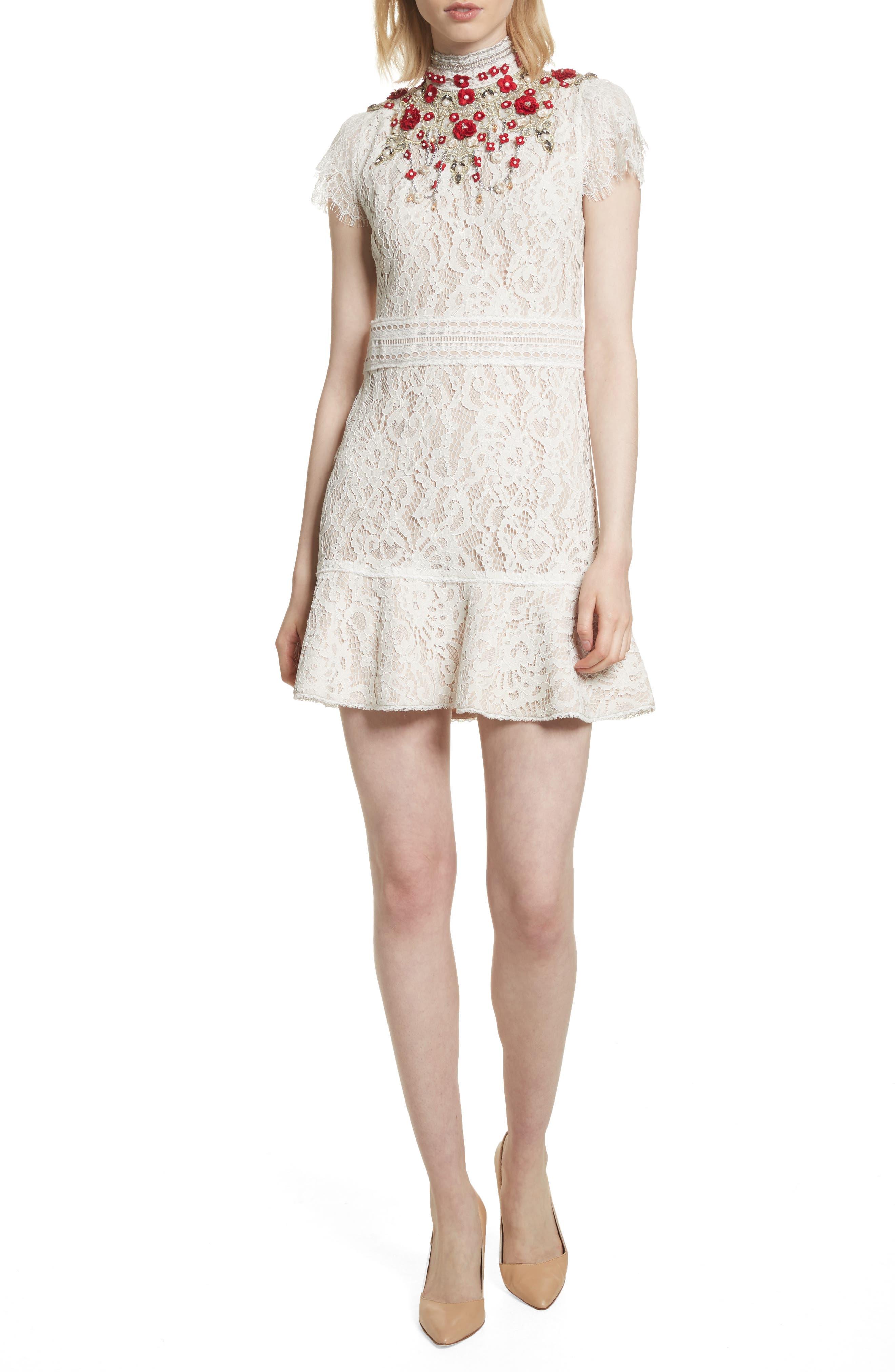 Main Image - Alice + Olivia Francine Lace Fit & Flare Minidress