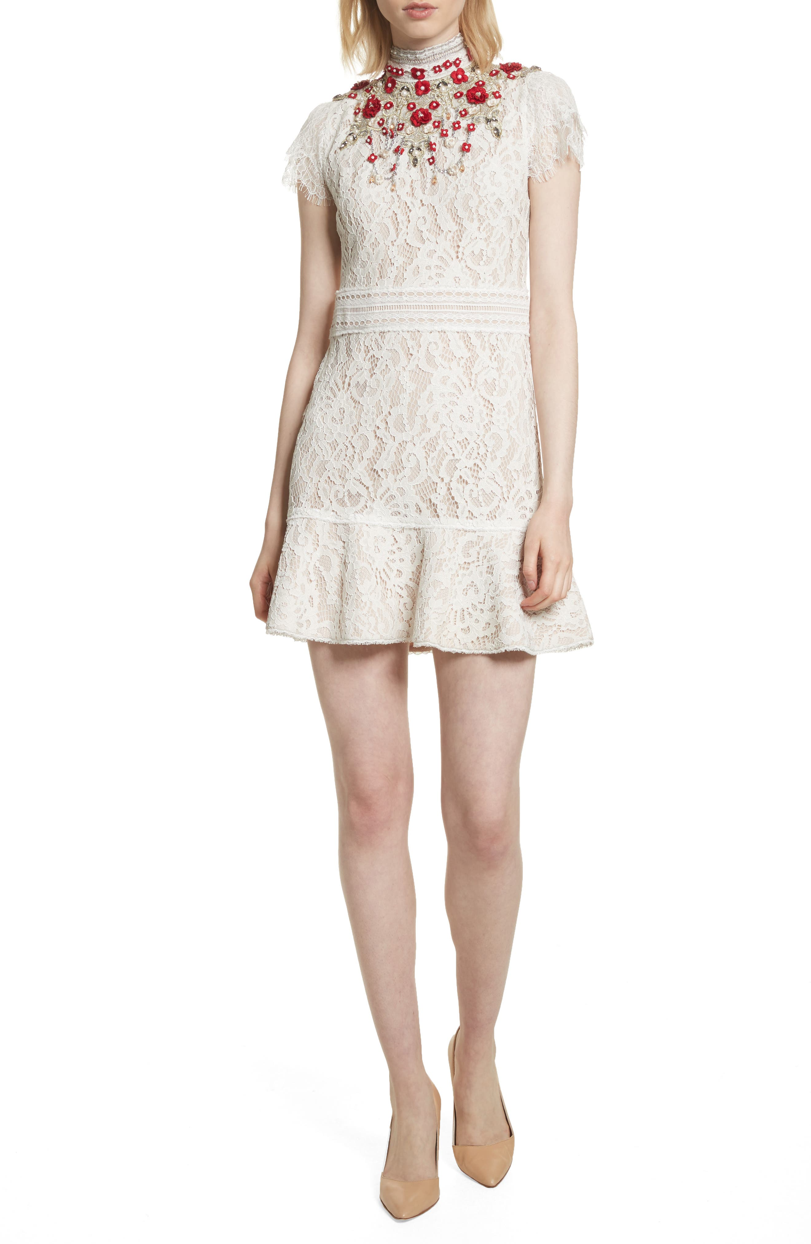 Francine Lace Fit & Flare Minidress,                         Main,                         color, Cream/ Perfect Poppy