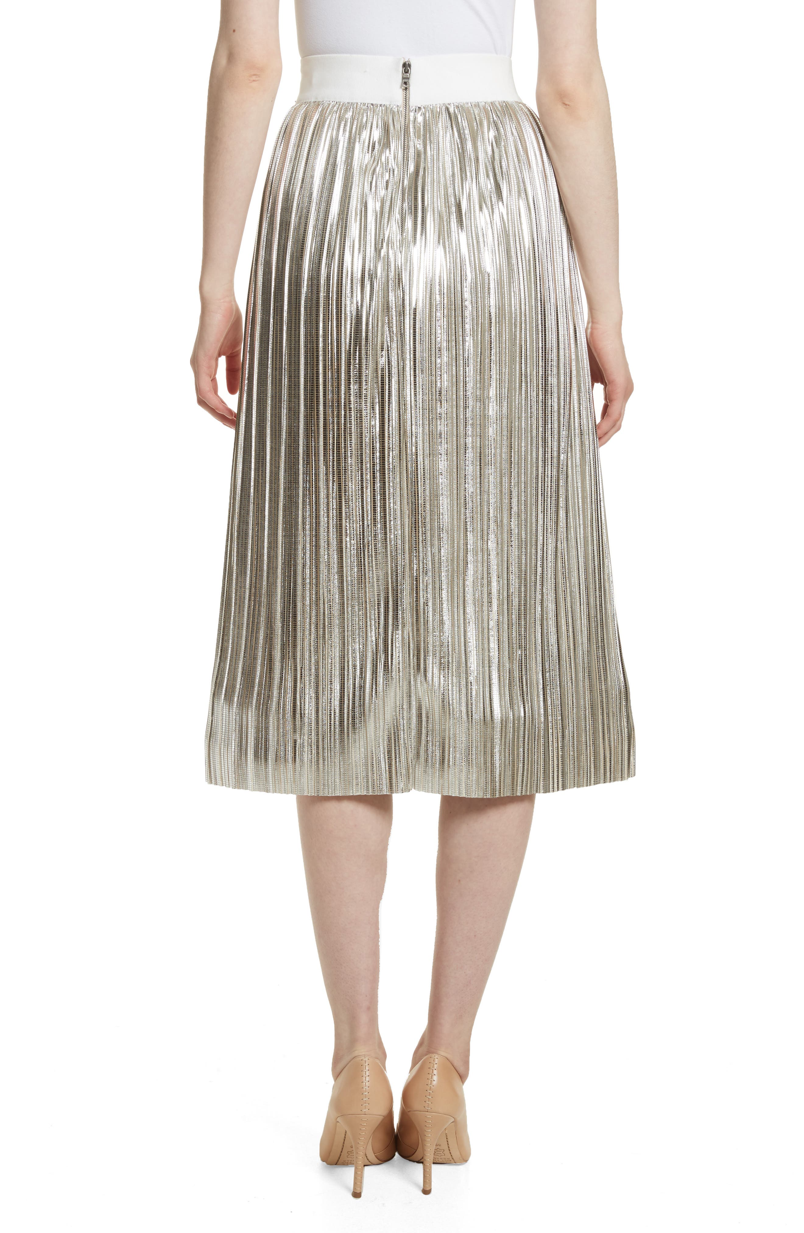 Mikaela Pleat Metallic Skirt,                             Alternate thumbnail 2, color,                             Silver Metallic