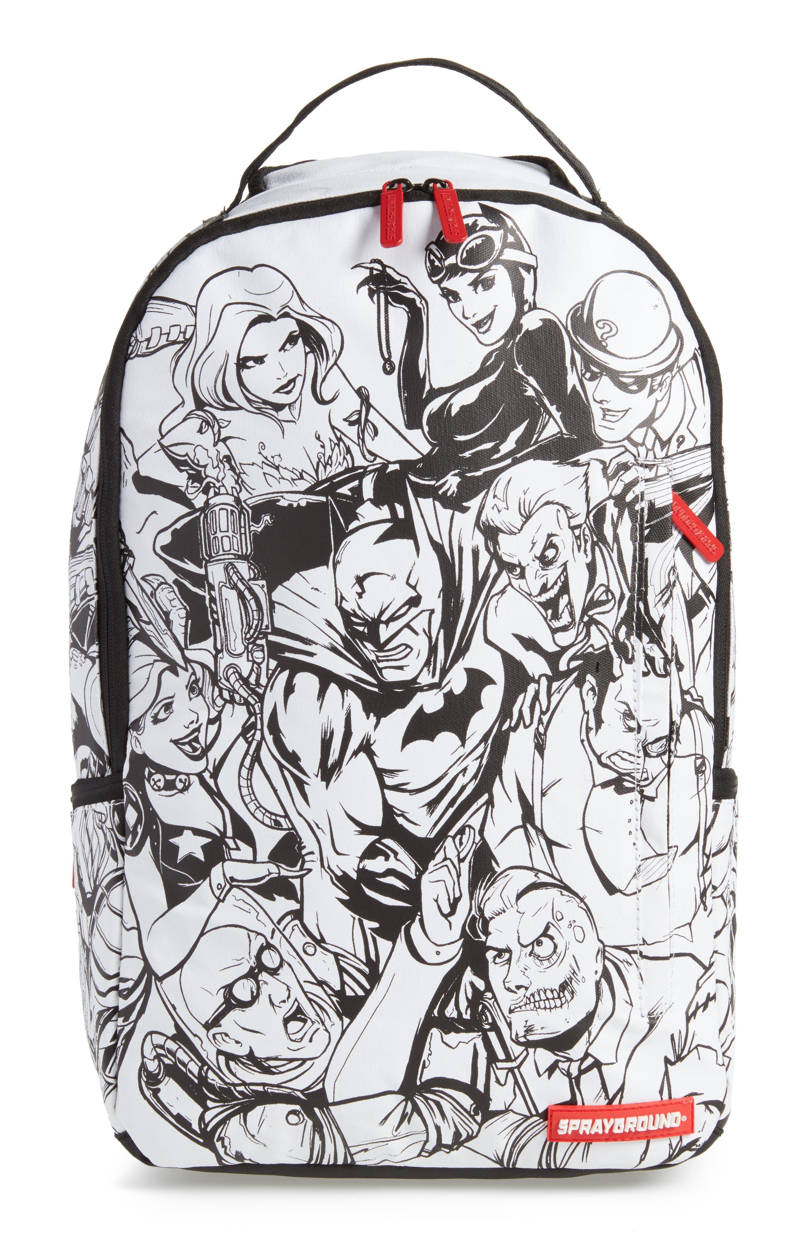Batman DIY Villains Backpack,                         Main,                         color, Black/ White