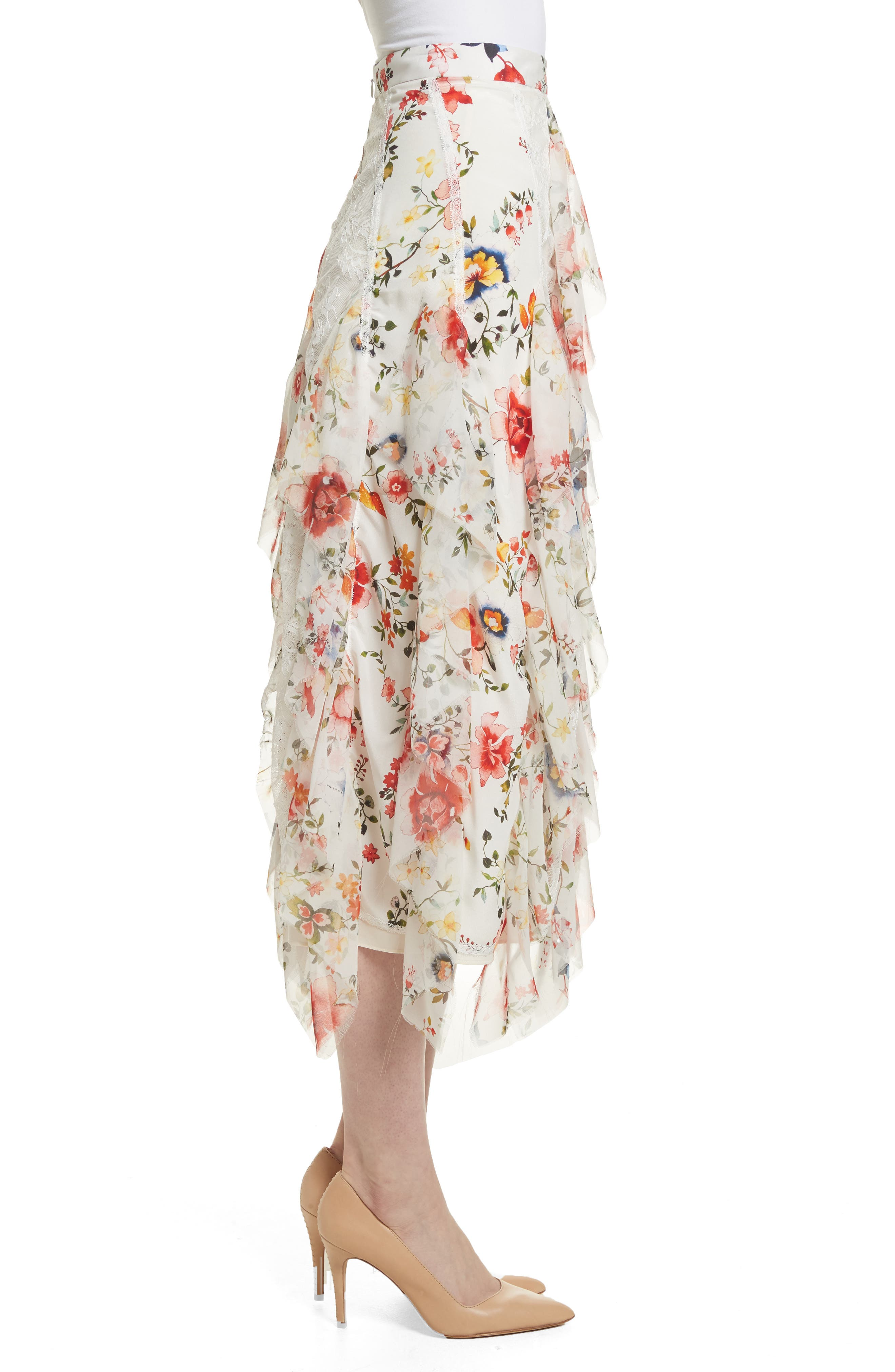 Yula Floral Silk & Lace Midi Skirt,                             Alternate thumbnail 3, color,                             Floral Soiree-Soft White