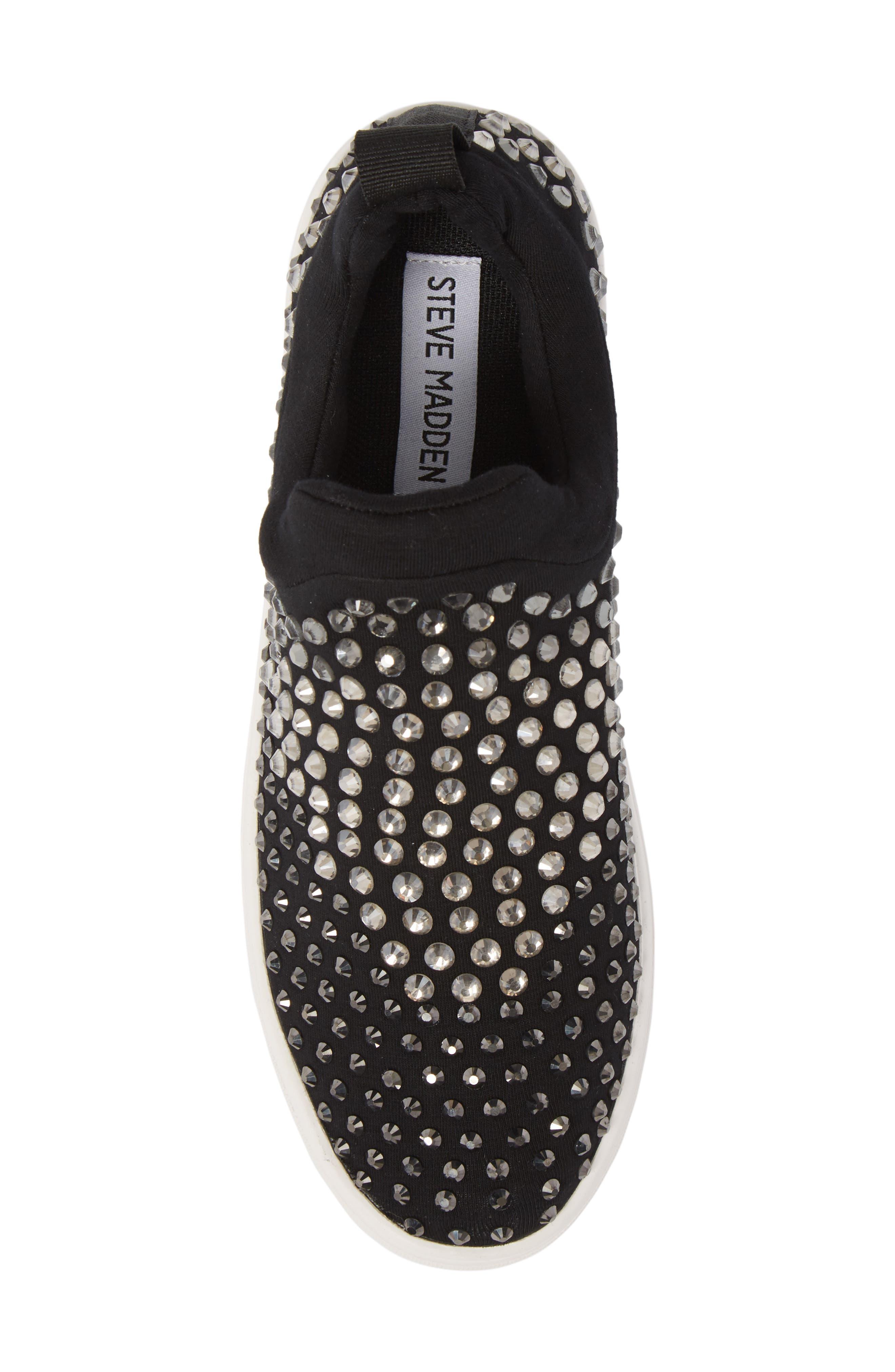 Sherry Crystal Embellished Sneaker,                             Alternate thumbnail 5, color,                             Black Multi Fabric
