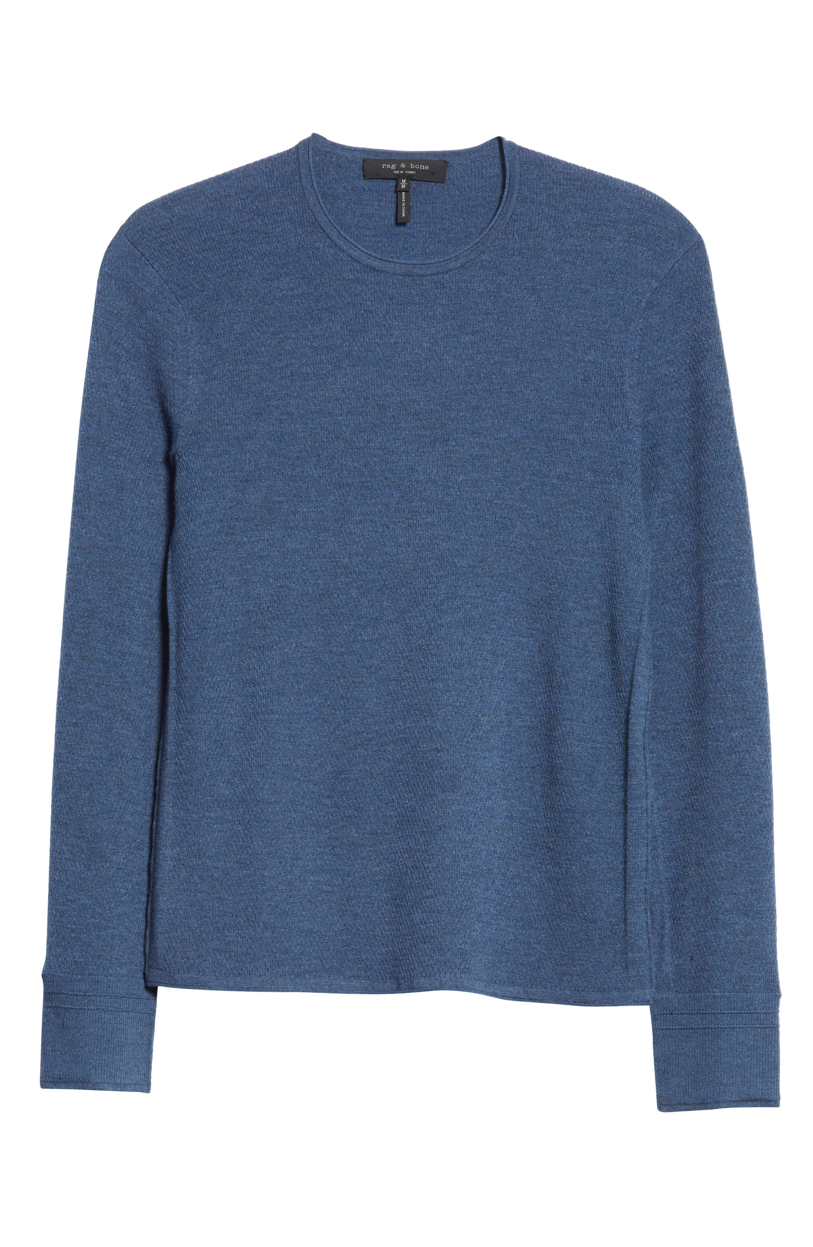 Gregory Merino Wool Blend Crewneck Sweater,                             Alternate thumbnail 6, color,                             Heather Blue