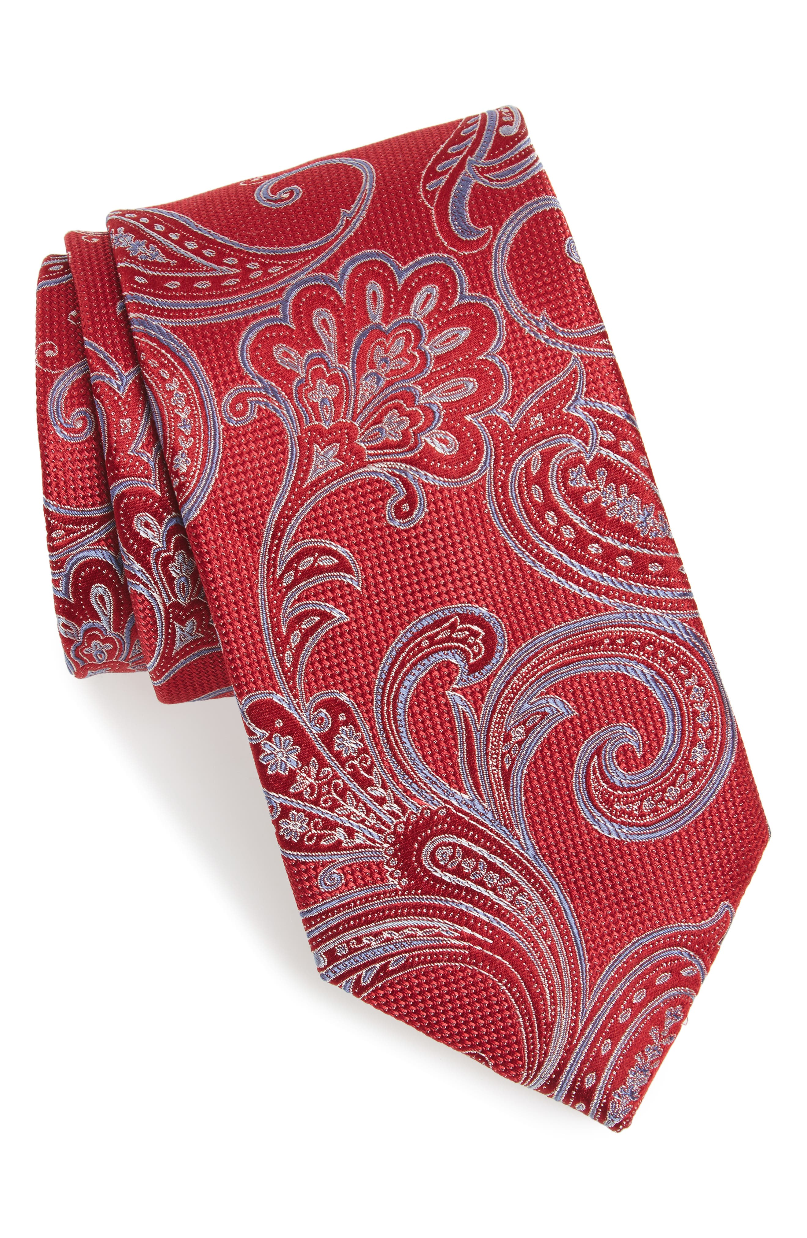 Bennett Paisley Silk Tie,                             Main thumbnail 1, color,                             Red
