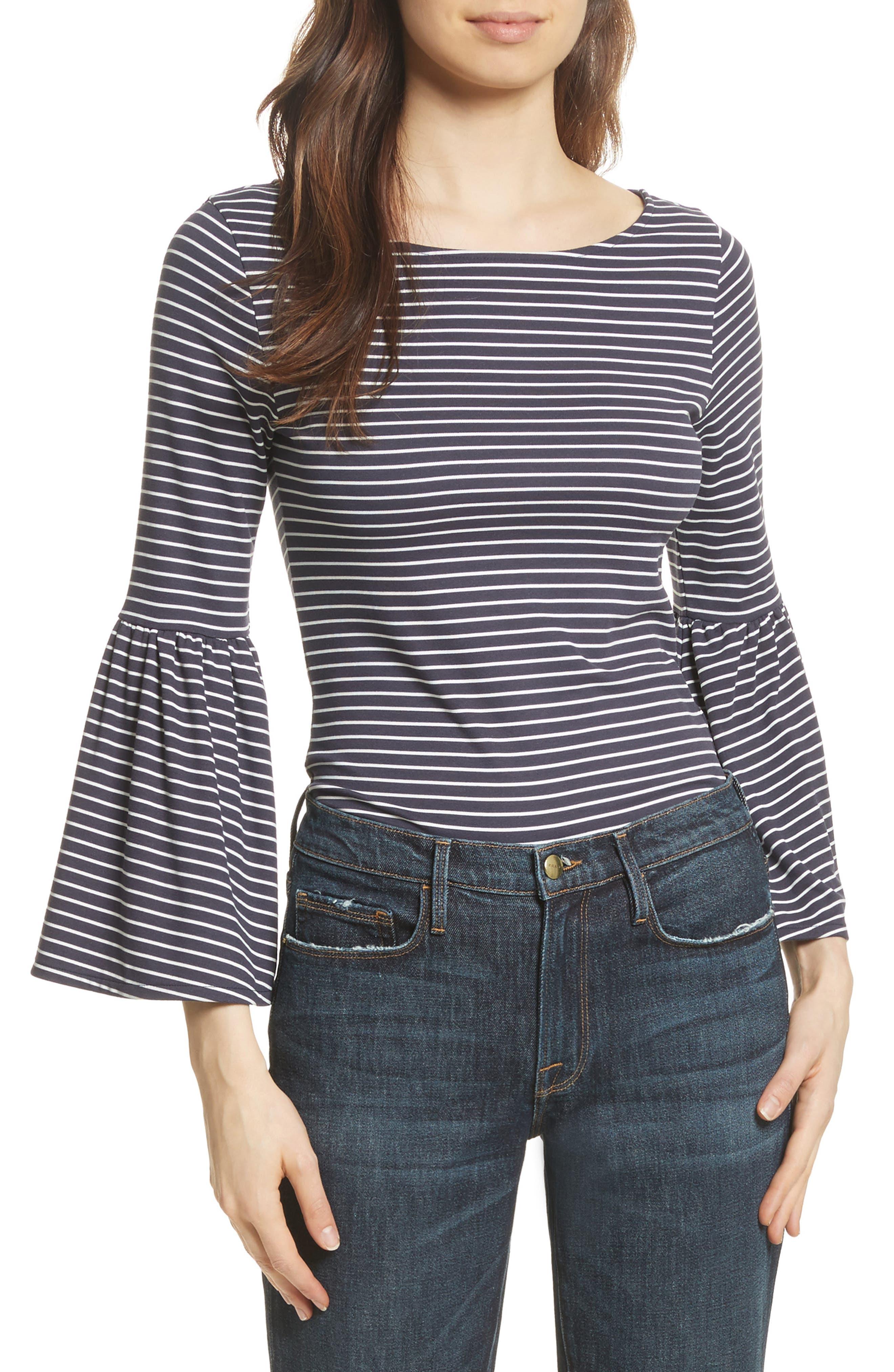 Stripe Bell Sleeve Top,                         Main,                         color, Dark Navy Multi