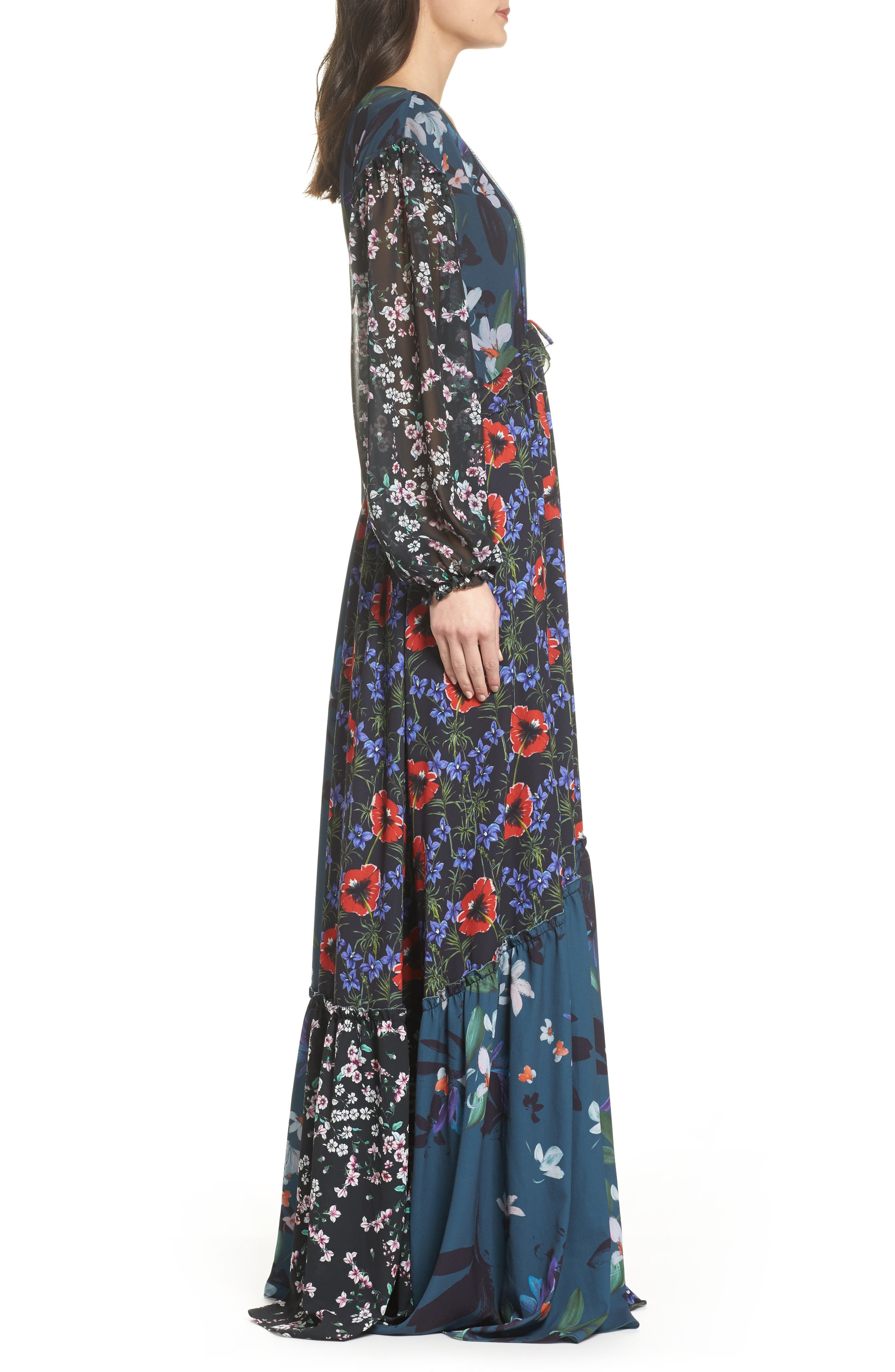 Celia Mix Floral Maxi Dress,                             Alternate thumbnail 3, color,                             Deep Teal Multi