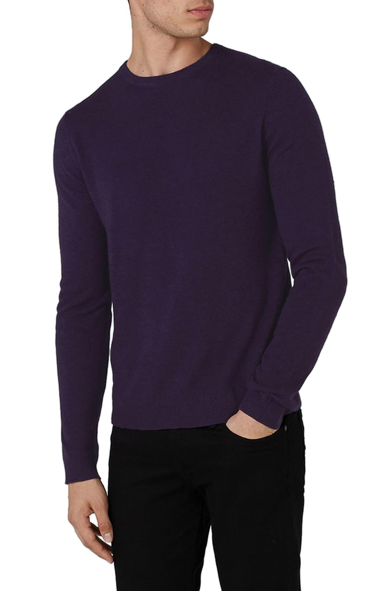 Slim Fit Crewneck Sweater,                             Main thumbnail 1, color,                             Dark Purple