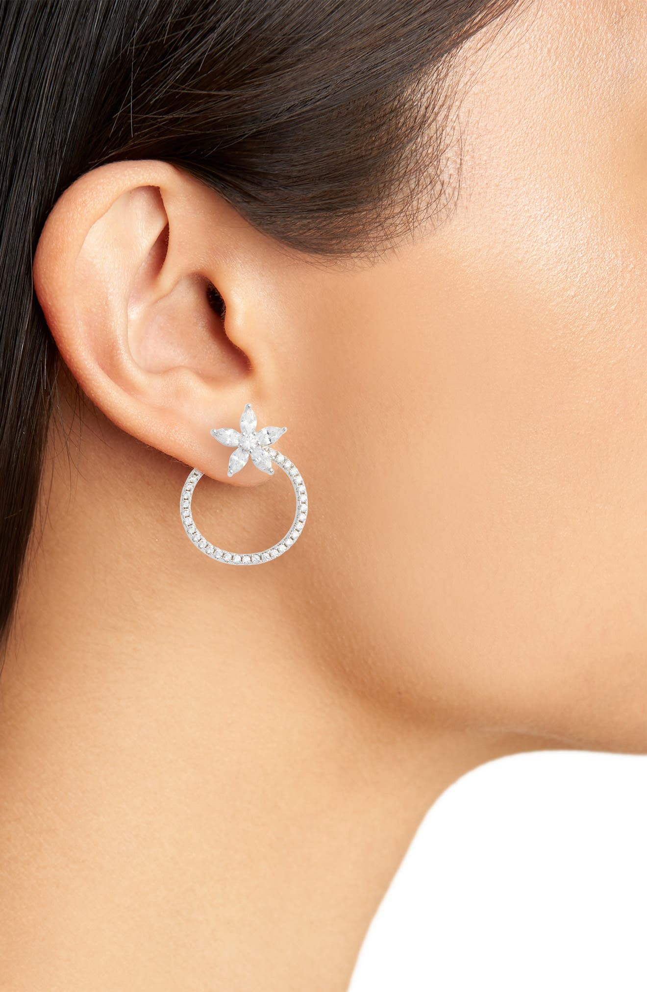 Front to Back Floral Hoop Earrings,                             Alternate thumbnail 2, color,                             Silver/ White Cz