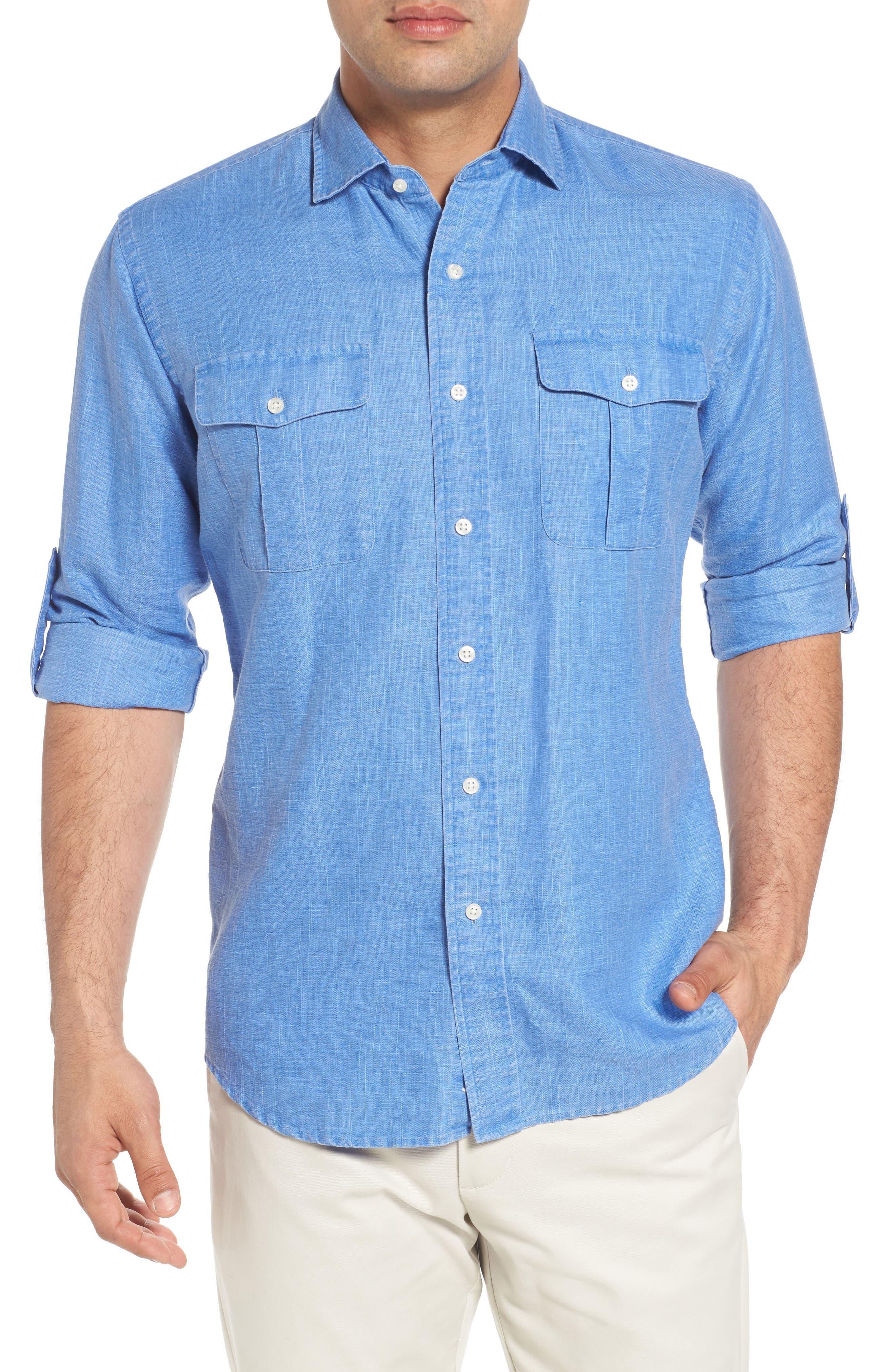 Main Image - Peter Millar Harkers Regular Fit Herringbone Sport Shirt