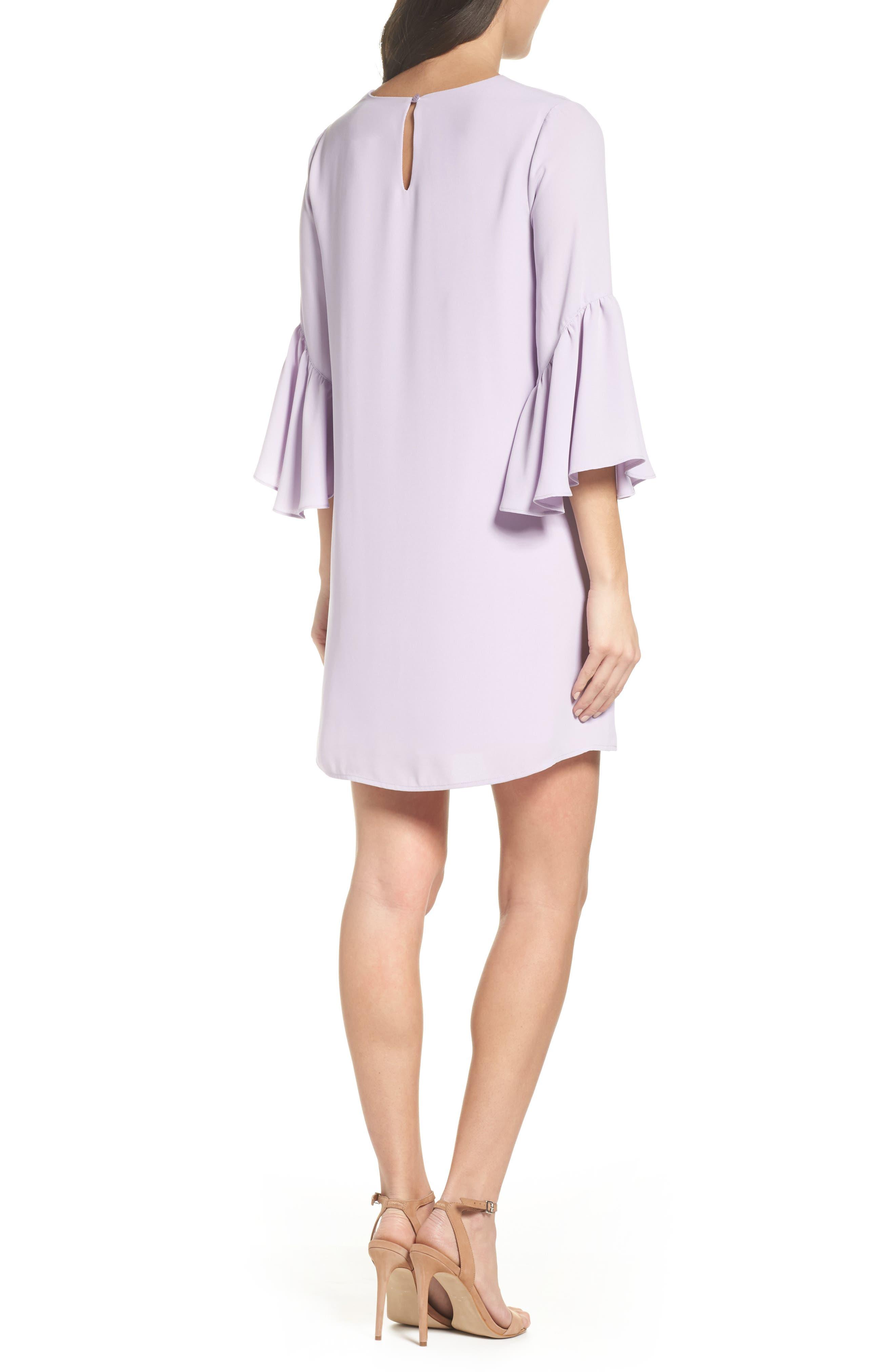 Bell Sleeve Shift Dress,                             Alternate thumbnail 2, color,                             Purple Petal