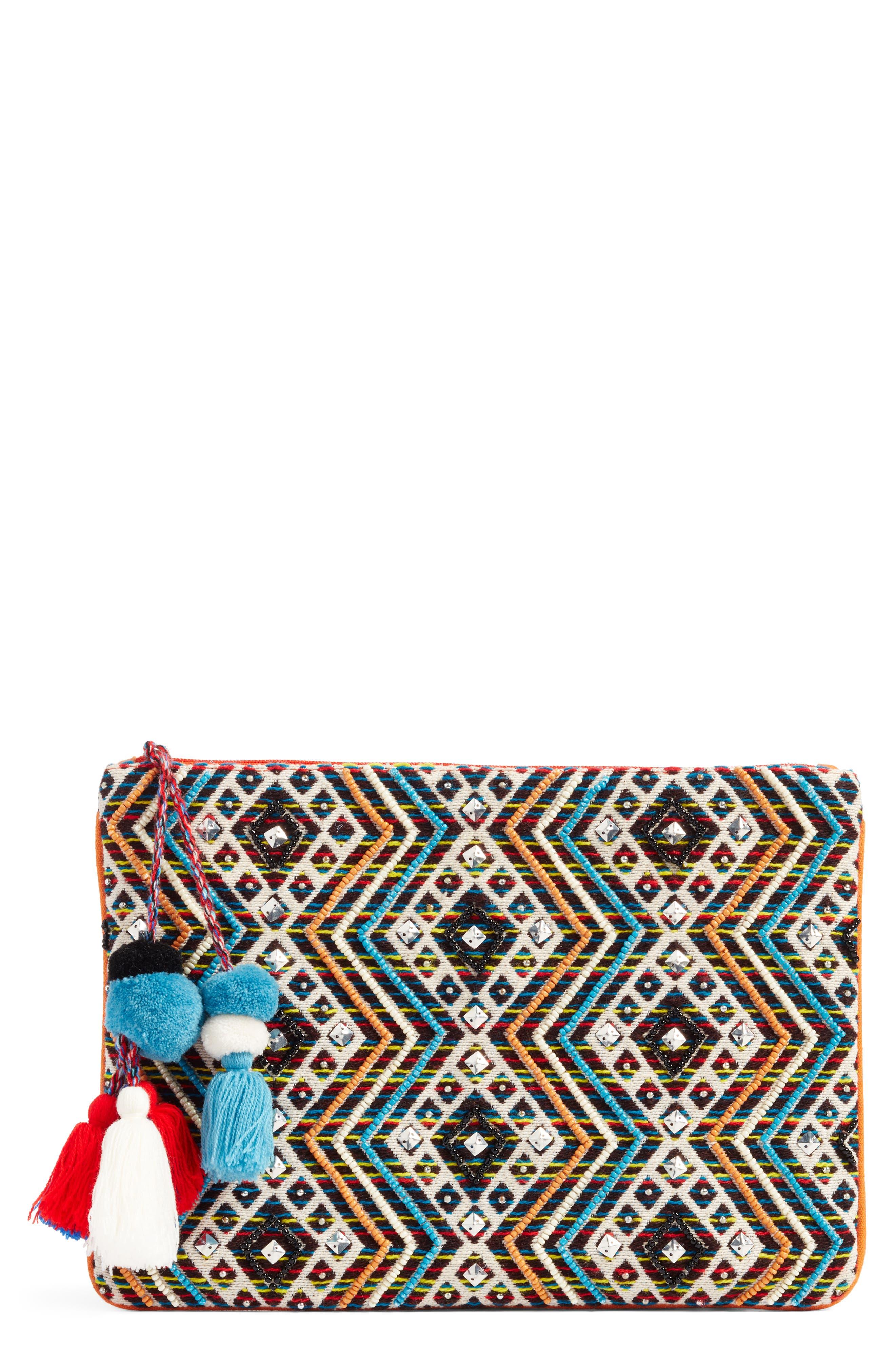 Resort Embellished Clutch,                             Main thumbnail 1, color,                             Blue Multi