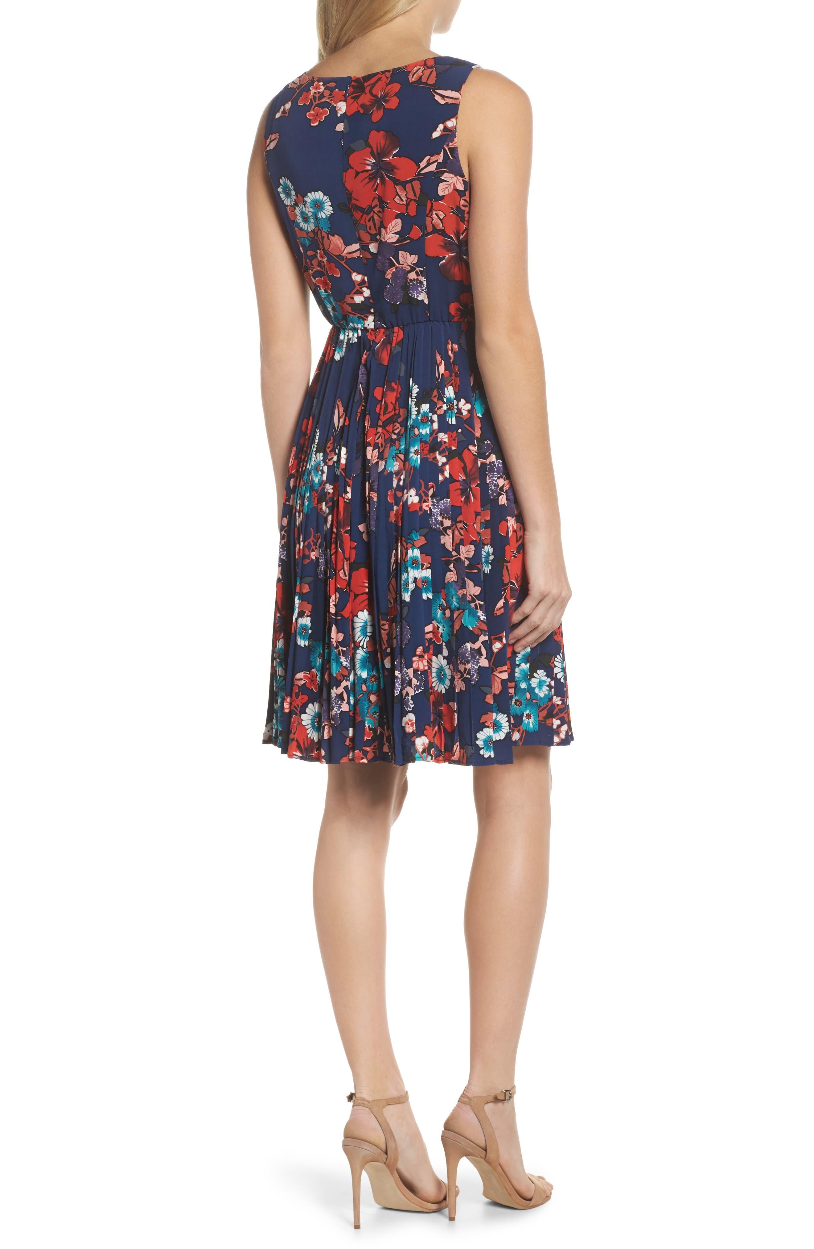 Botanical Soiree Fit & Flare Dress,                             Alternate thumbnail 2, color,                             Blue Multi
