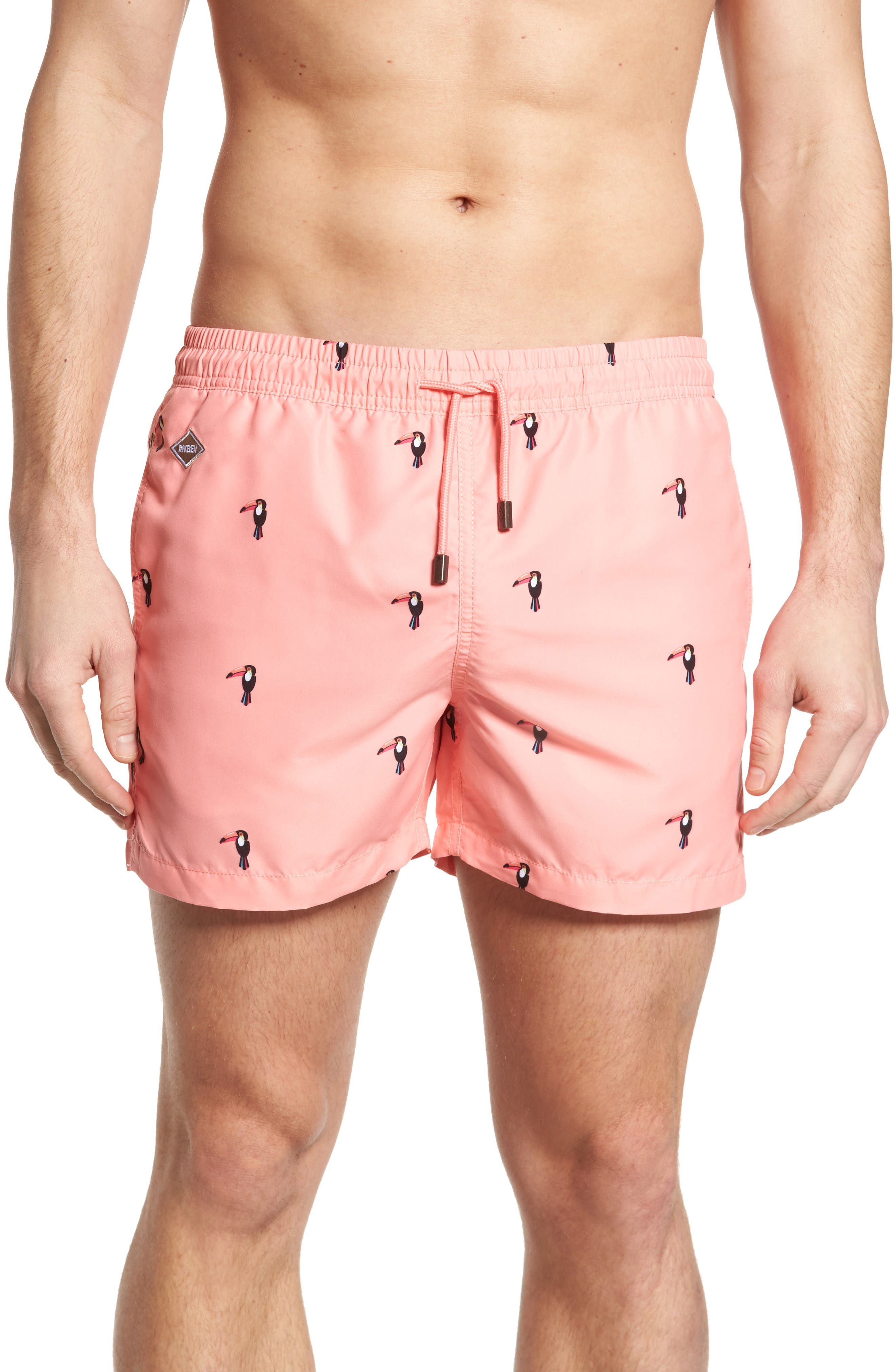 Slim Fit Toucan Swim Trunks,                         Main,                         color, Peach