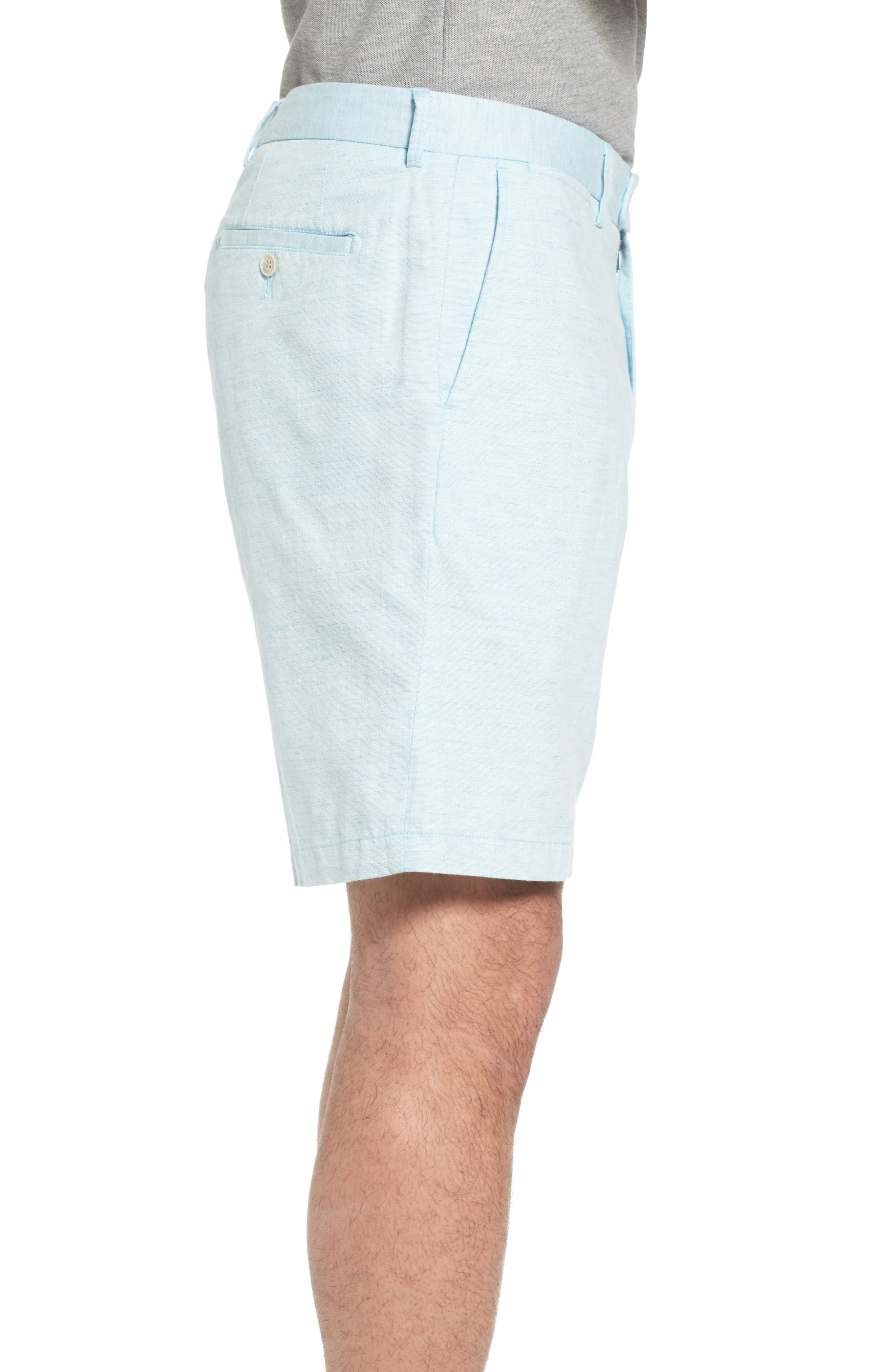 Crown Cool Delave Flat Front Shorts,                             Alternate thumbnail 3, color,                             Grotto Blue