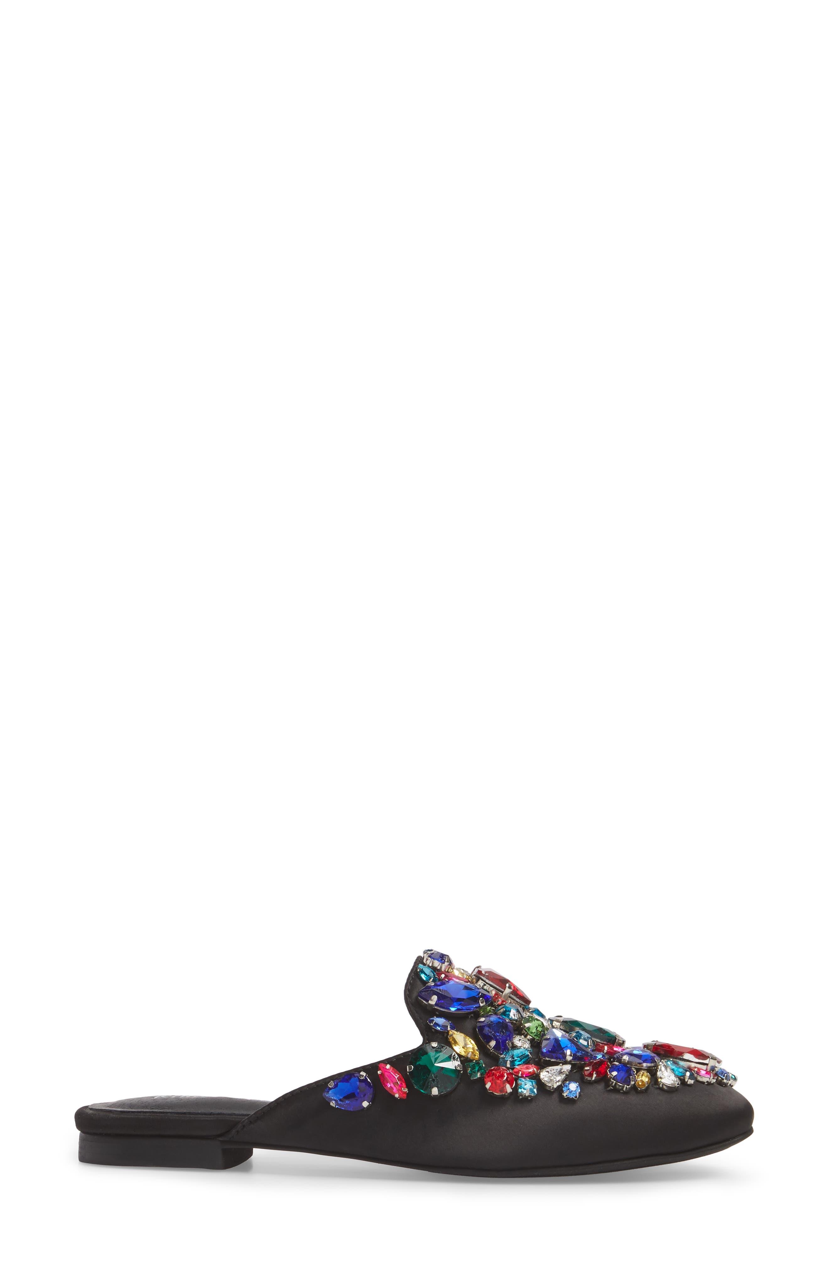 Meta Embellished Mule,                             Alternate thumbnail 3, color,                             Black Multi Fabric