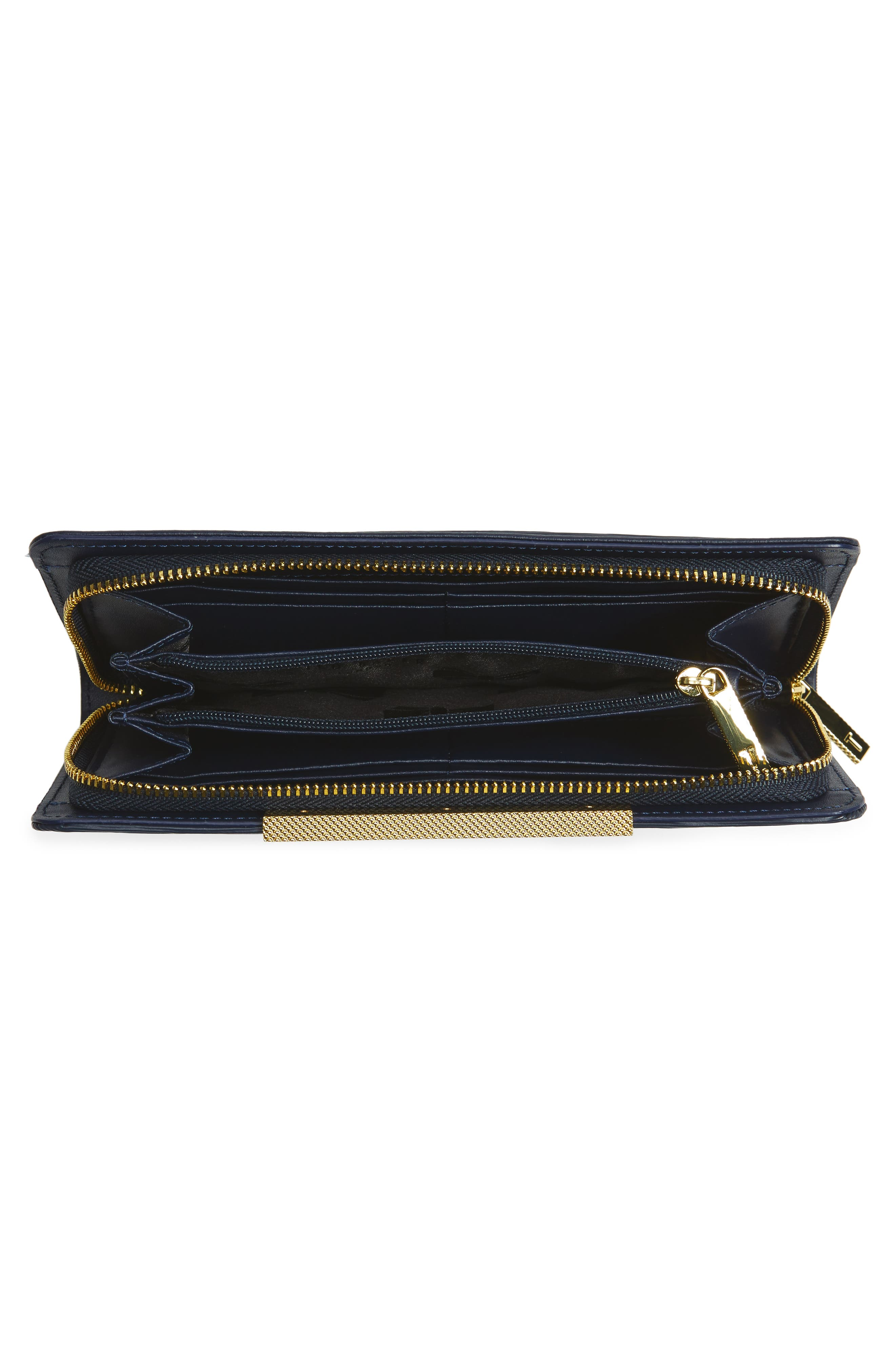 Marya Plissé Leather Matinee Wallet,                             Alternate thumbnail 4, color,                             Dark Blue