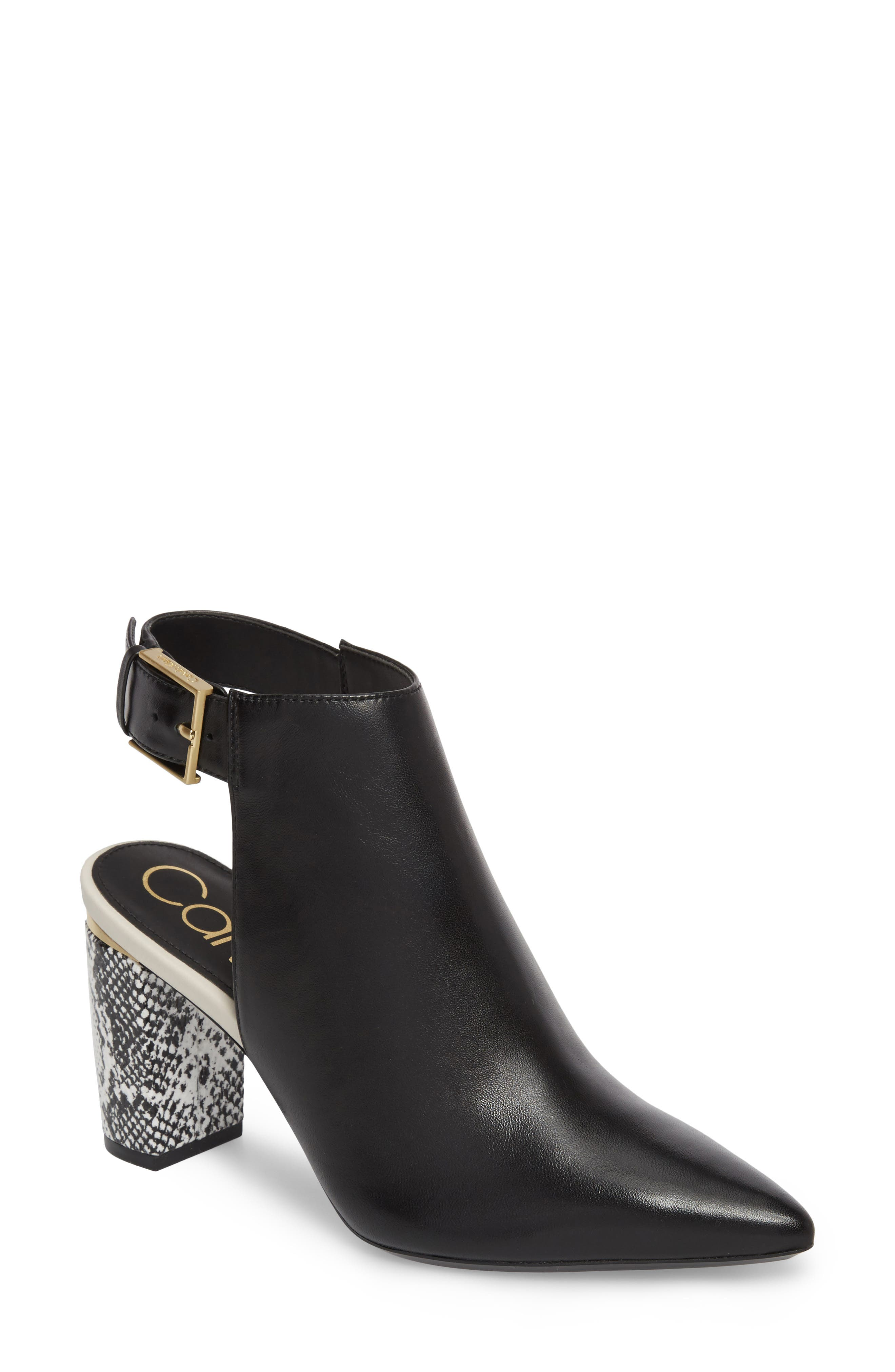 Evanah Pointy Toe Bootie,                         Main,                         color, Black Leather