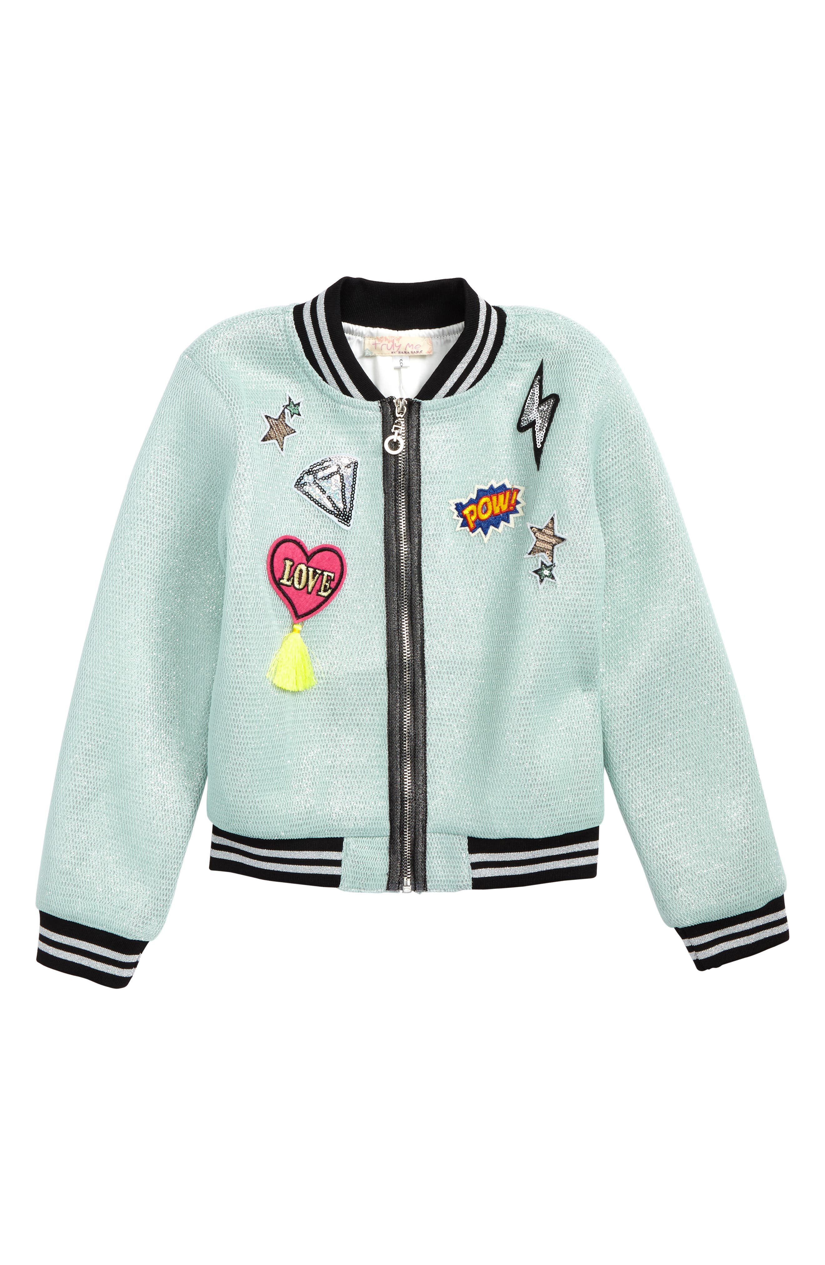 Alternate Image 1 Selected - Truly Me Patches Mesh Bomber Jacket (Toddler Girls & Little Girls)