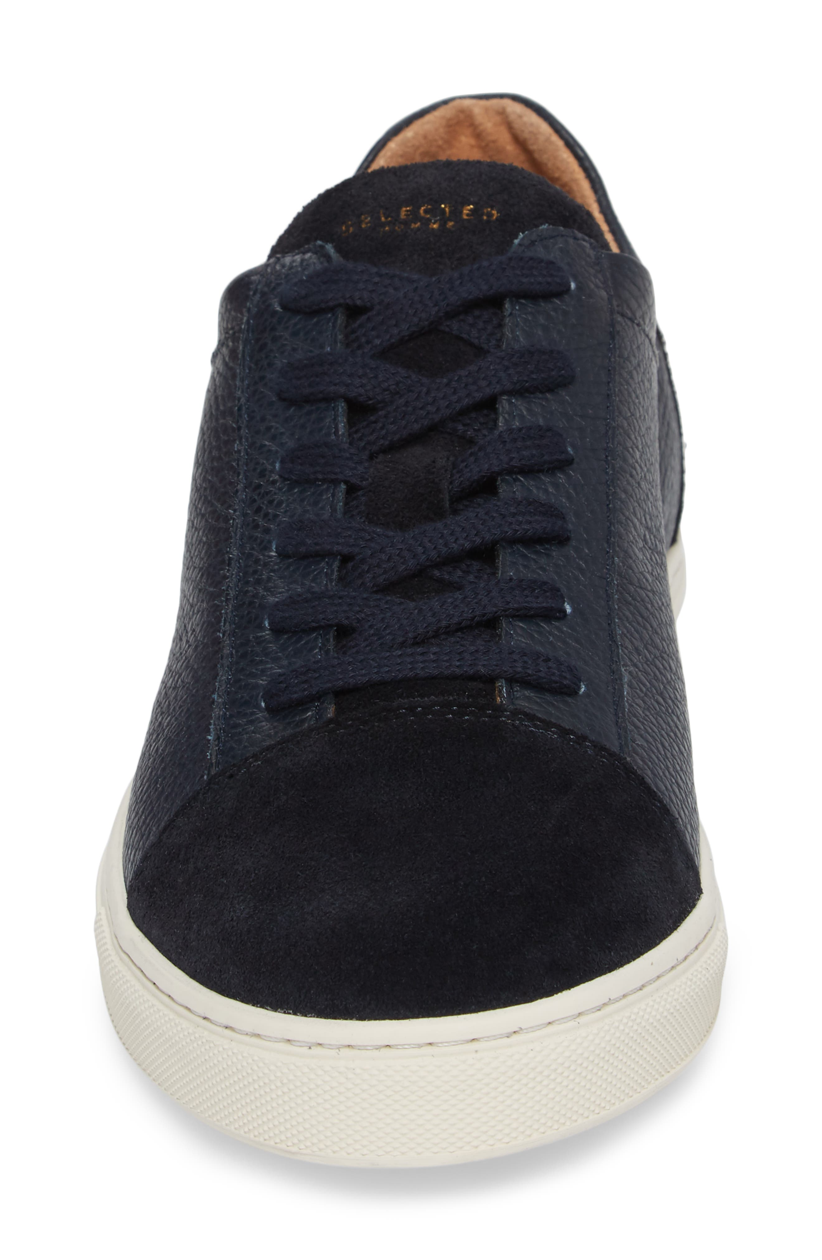 David Cap Toe Sneaker,                             Alternate thumbnail 4, color,                             Dark Navy Leather/ Suede
