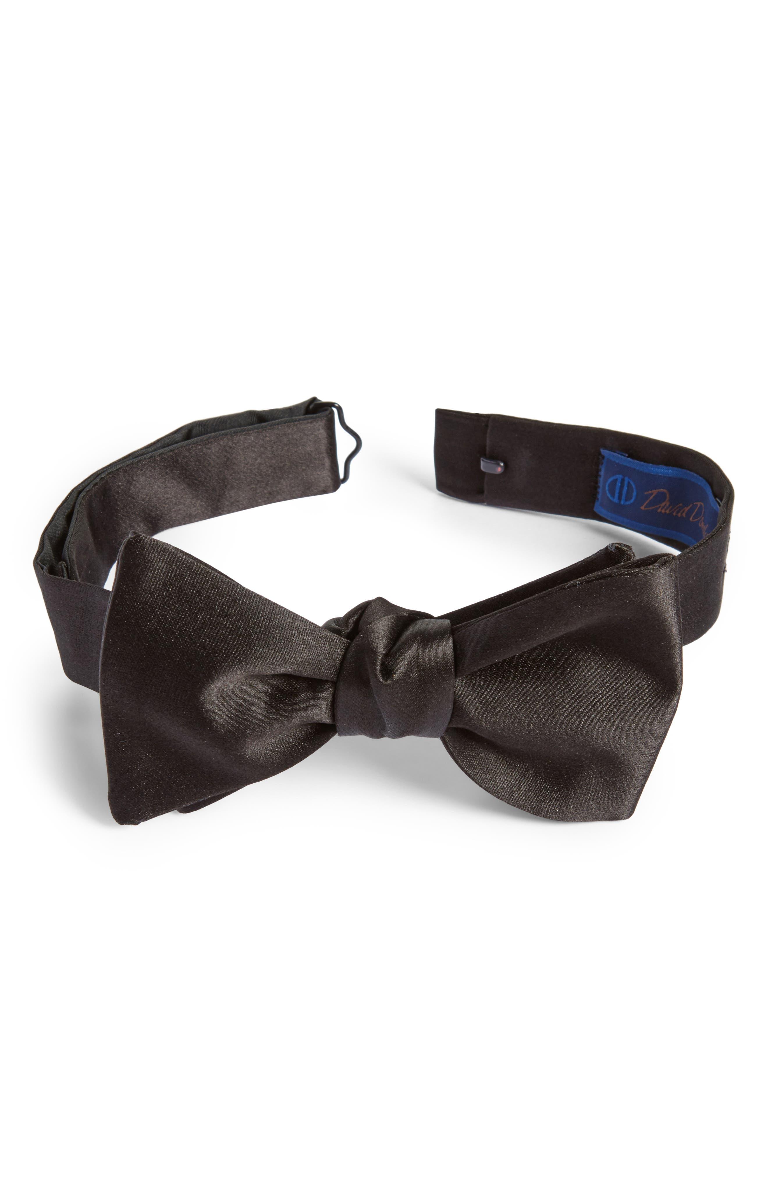 Silk Bow Tie,                         Main,                         color, Black Satin