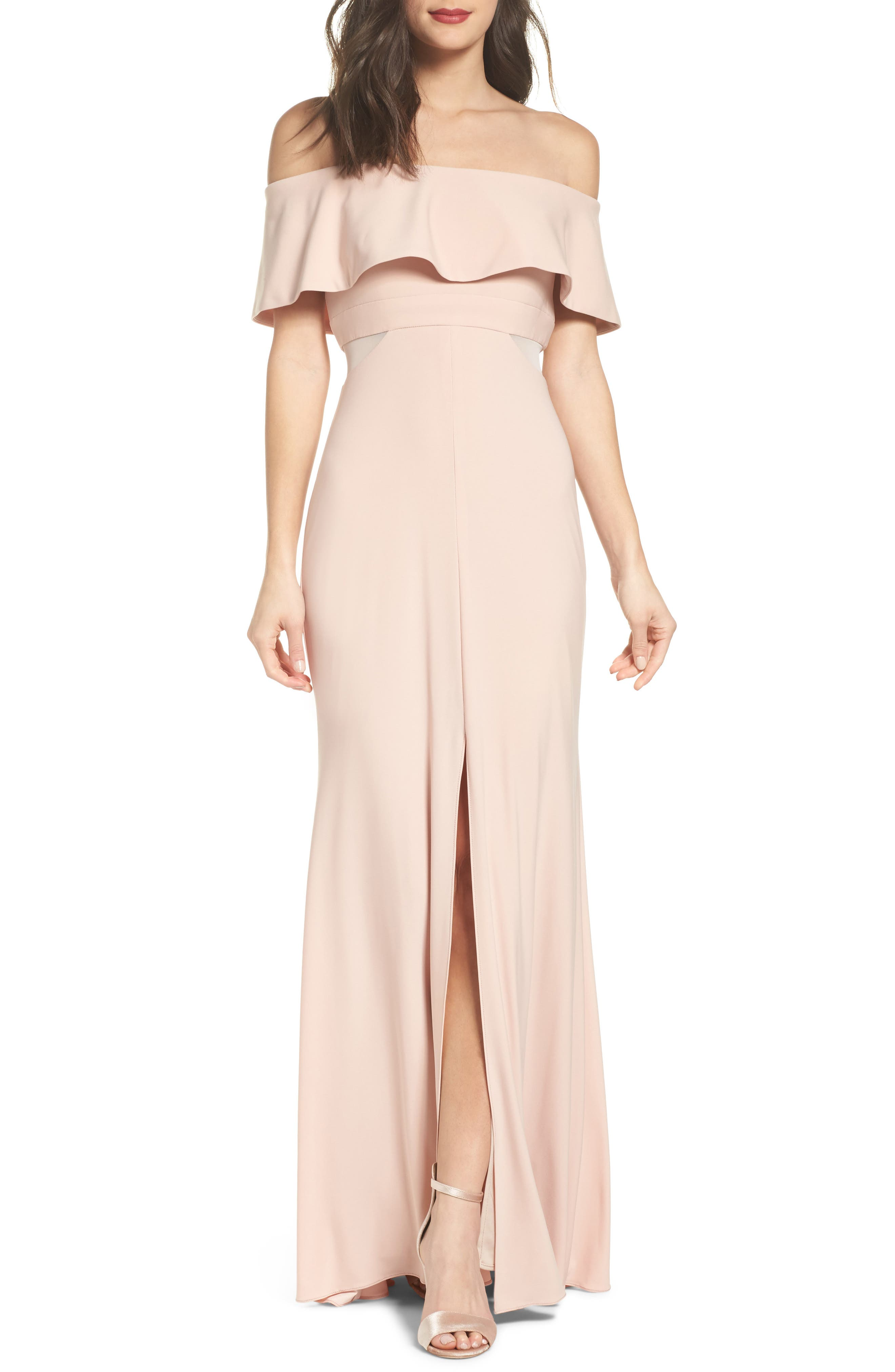 Jersey Popover Gown,                         Main,                         color, Blush