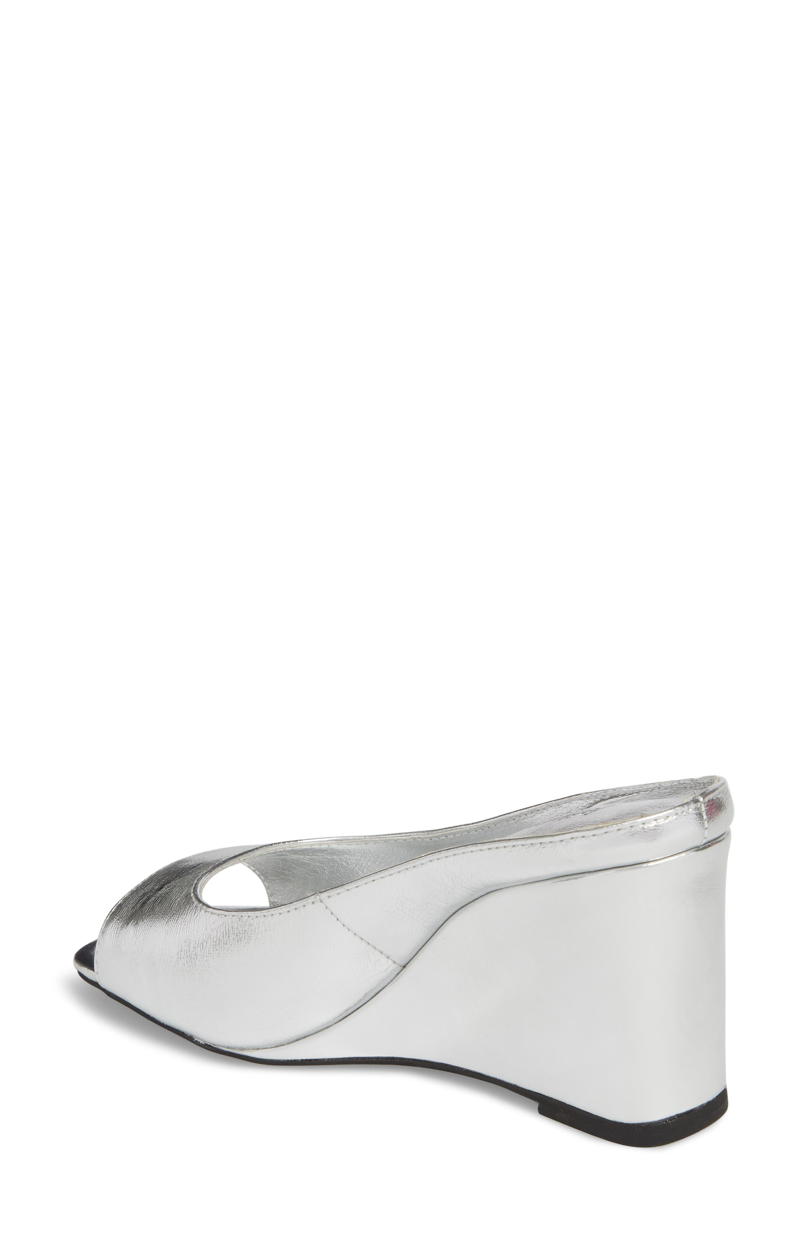 Generous Wedge Sandal,                             Alternate thumbnail 2, color,                             Silver Leather