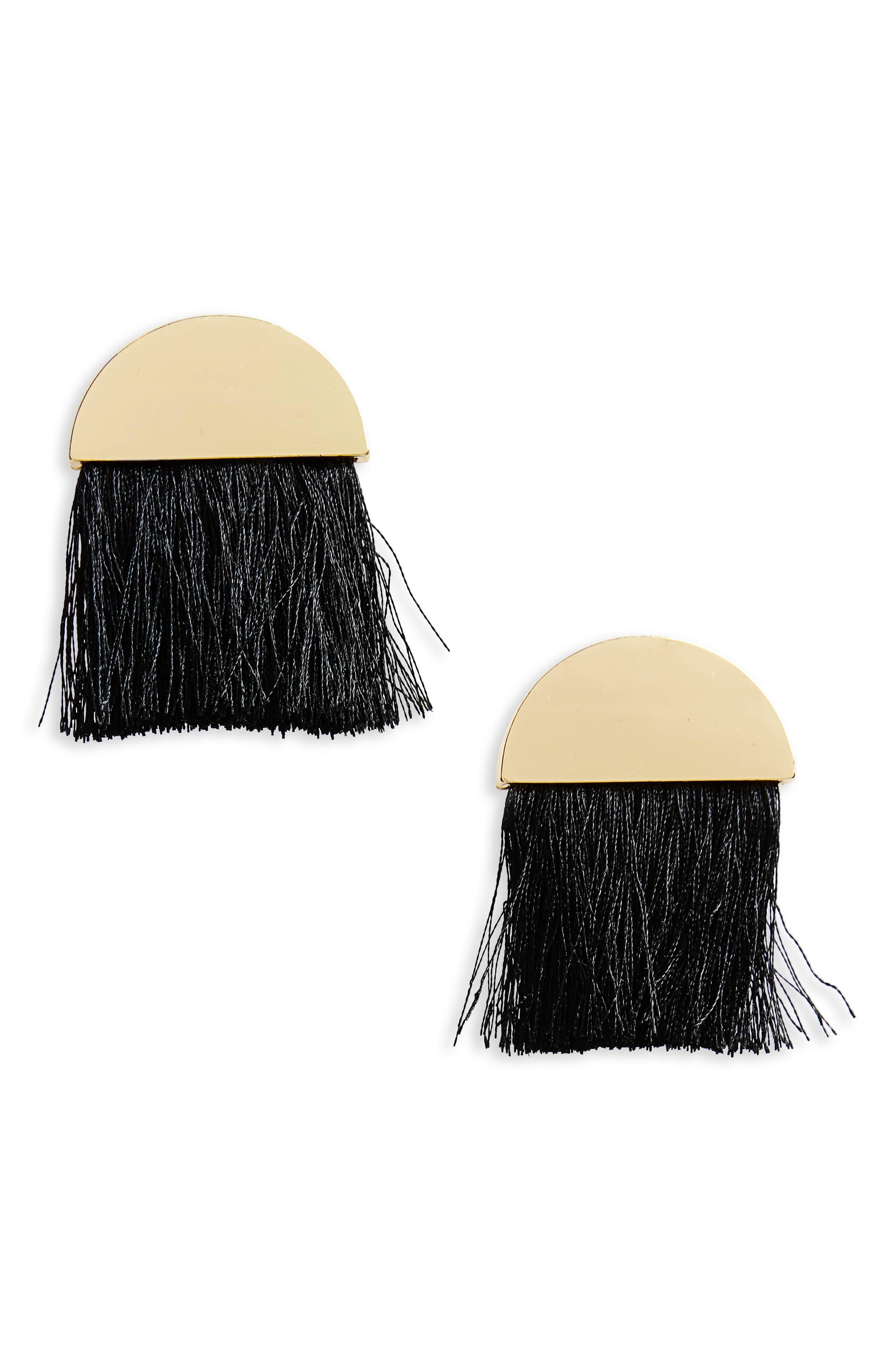 Metal & Tassel Fan Earrings,                             Main thumbnail 1, color,                             Gold/ Black