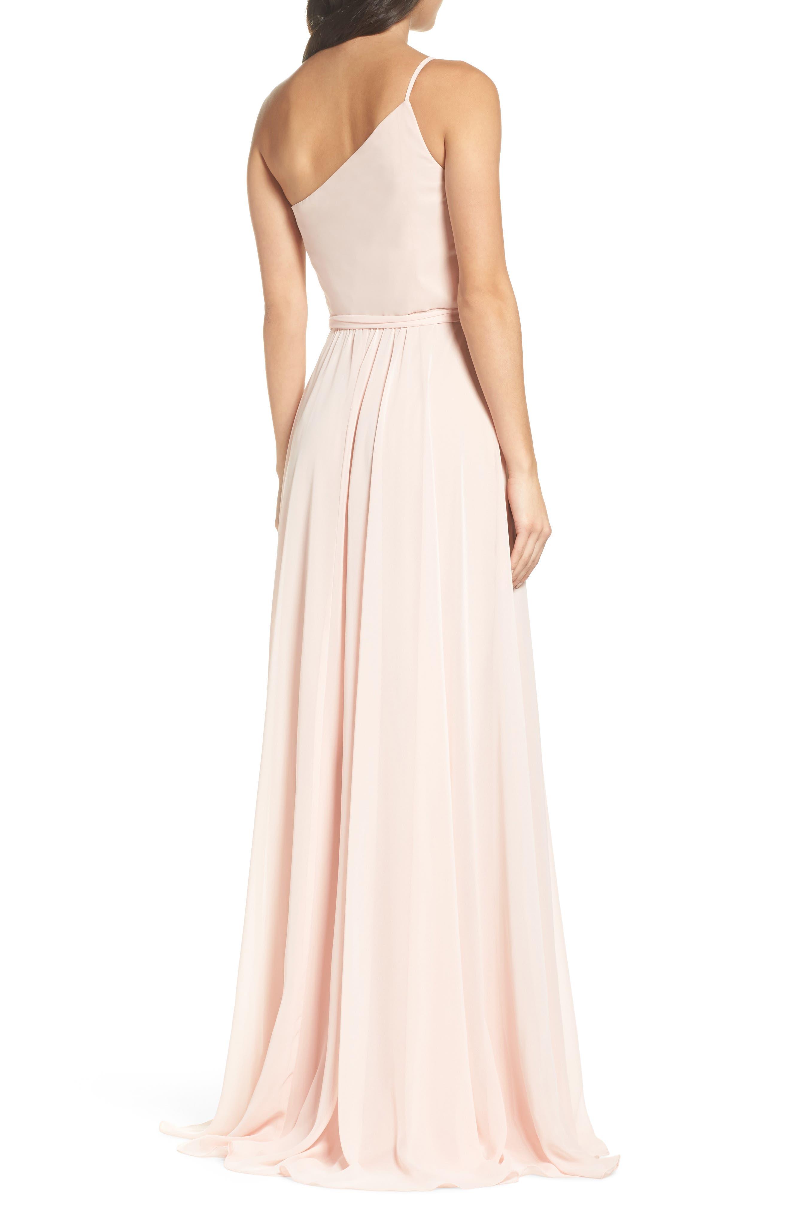 Alternate Image 2  - Amsale One-Shoulder Chiffon A-Line Gown