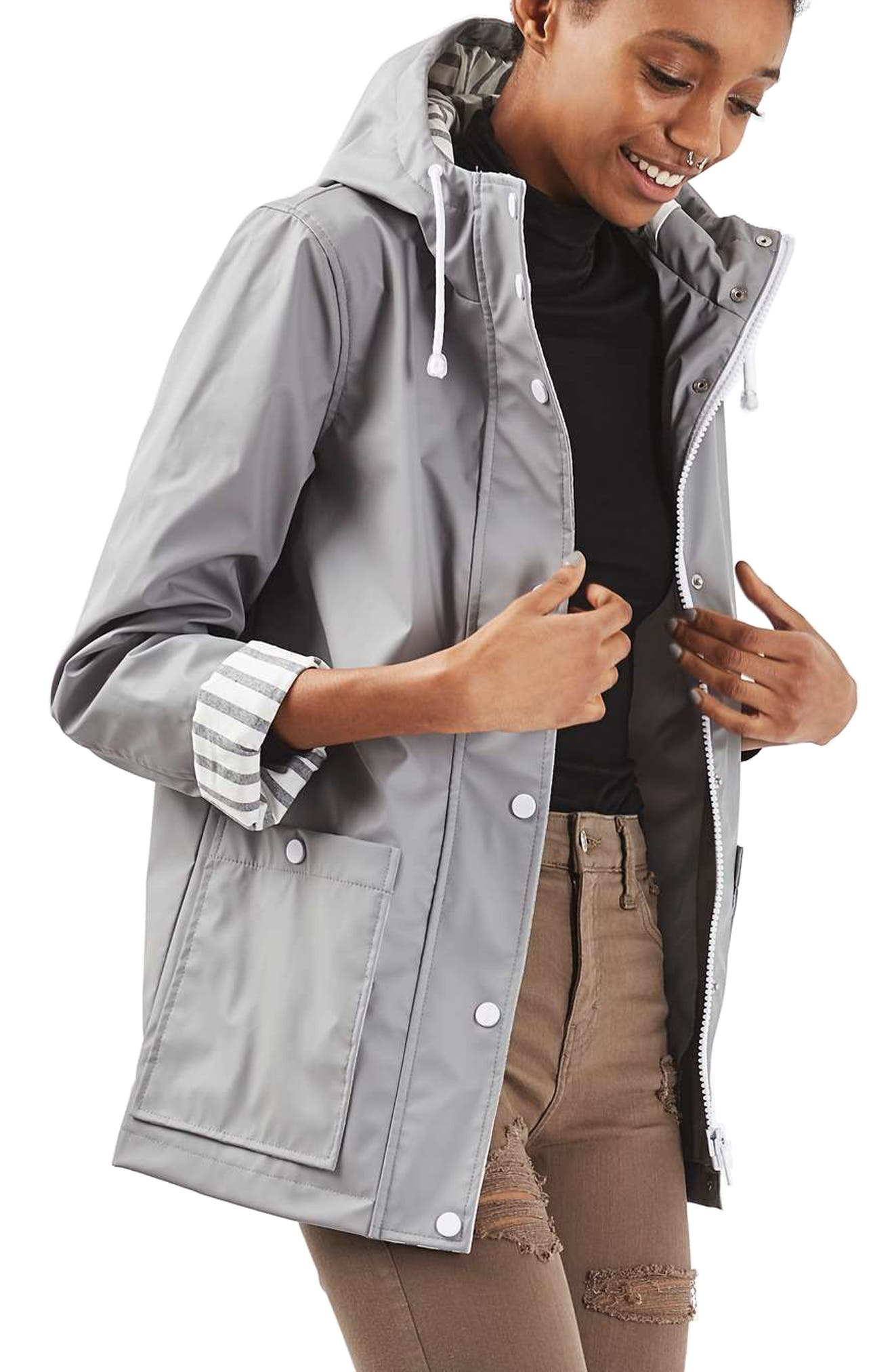 Maisie Rain Jacket,                             Main thumbnail 1, color,                             Grey Multi