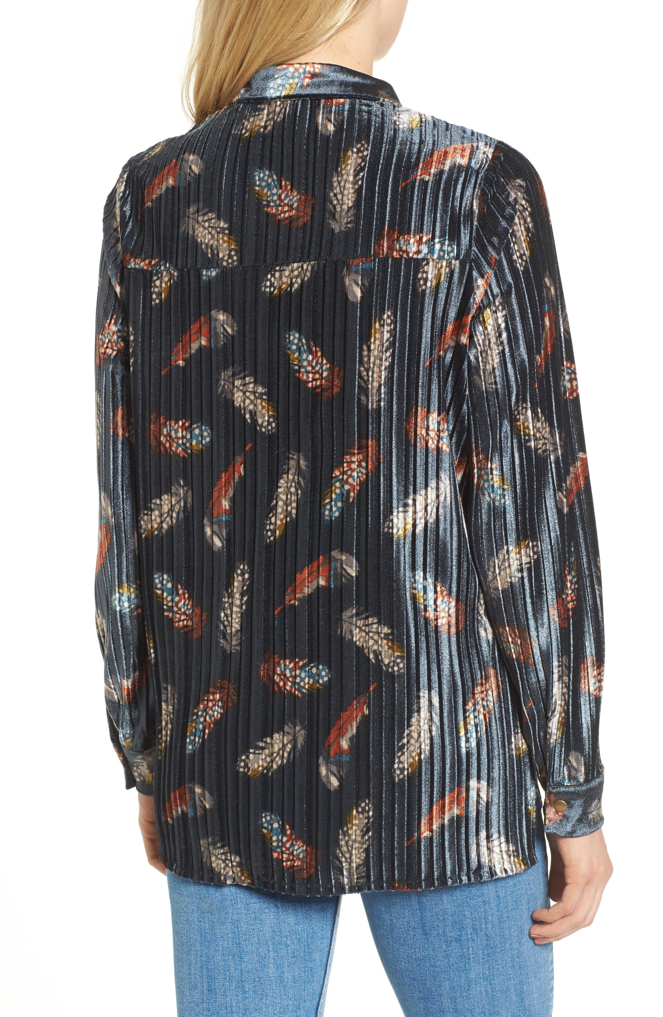 Bishop + Young Pleated Velvet Blouse,                             Alternate thumbnail 2, color,                             Print