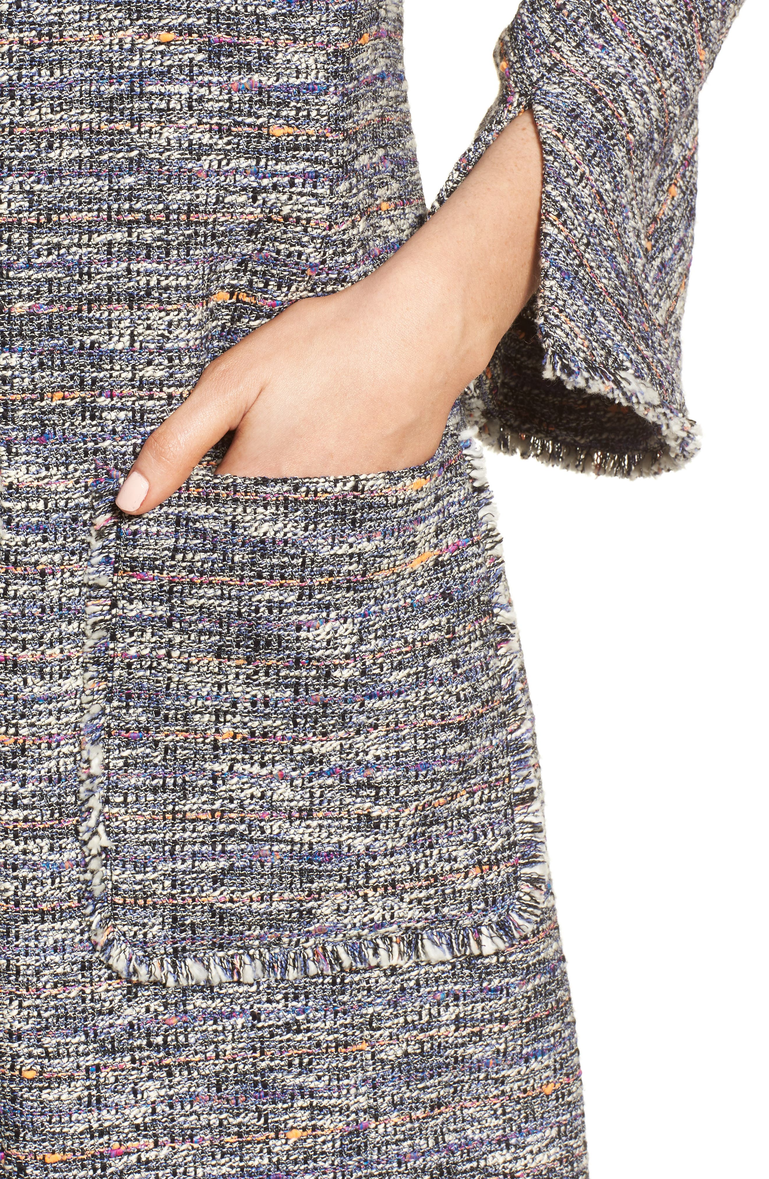 Novelty Tweed Split Sleeve Long Jacket,                             Alternate thumbnail 4, color,                             Black Multi Tweed