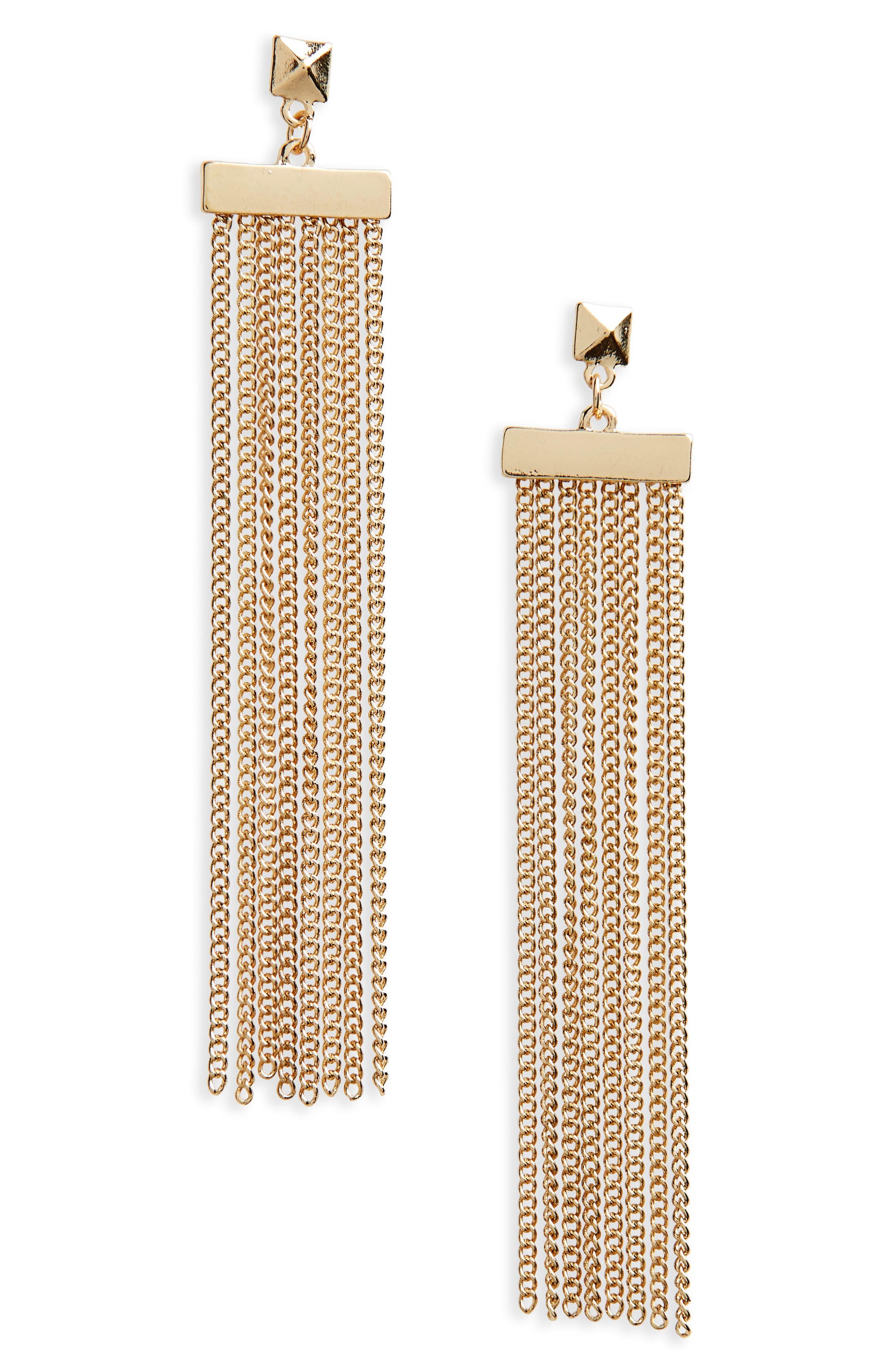 Main Image - BP. Chain Tassel Drop Earrings