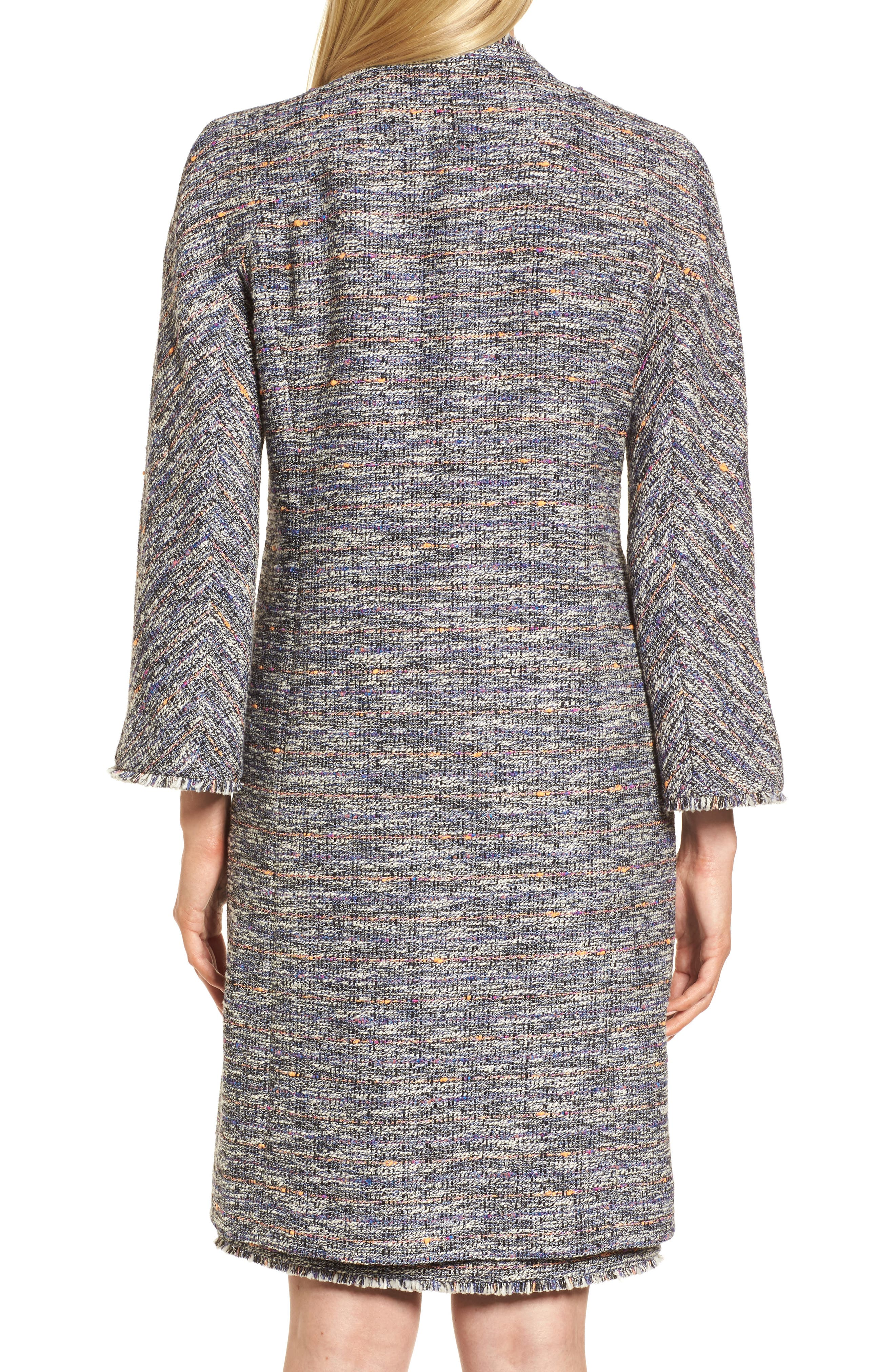 Novelty Tweed Split Sleeve Long Jacket,                             Alternate thumbnail 2, color,                             Black Multi Tweed