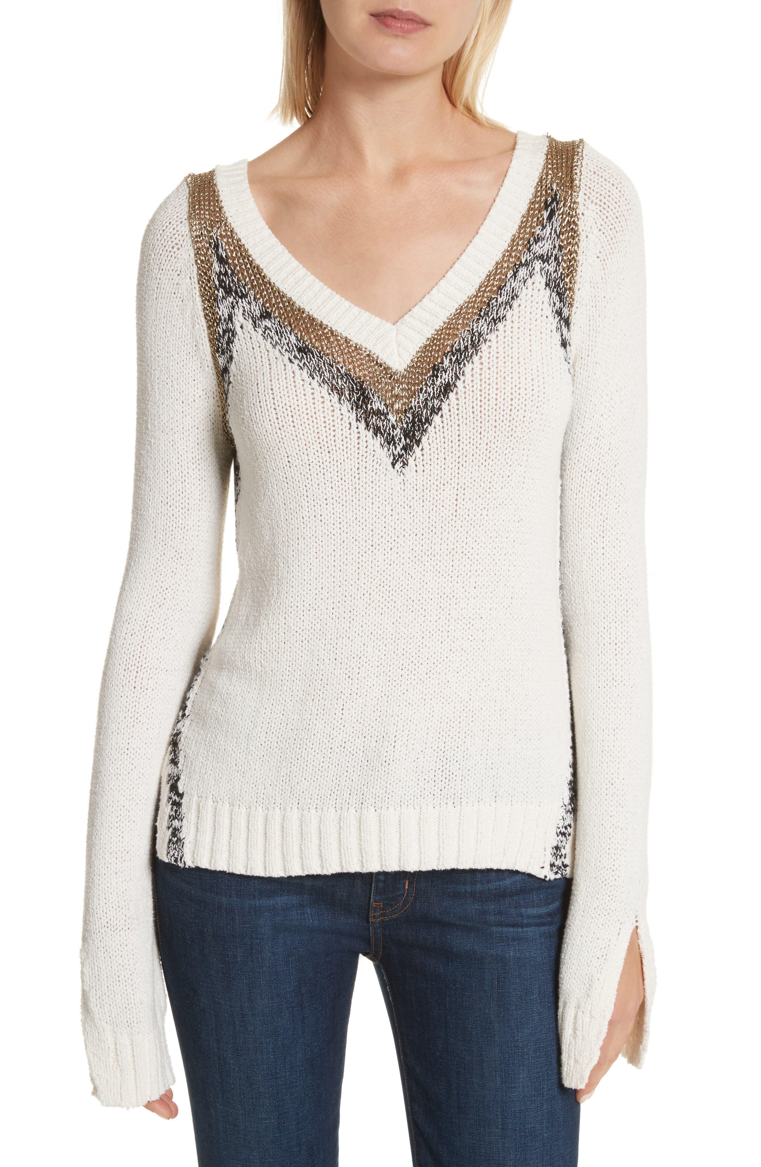 V-Neck Stripe Pullover,                             Main thumbnail 1, color,                             Soft White