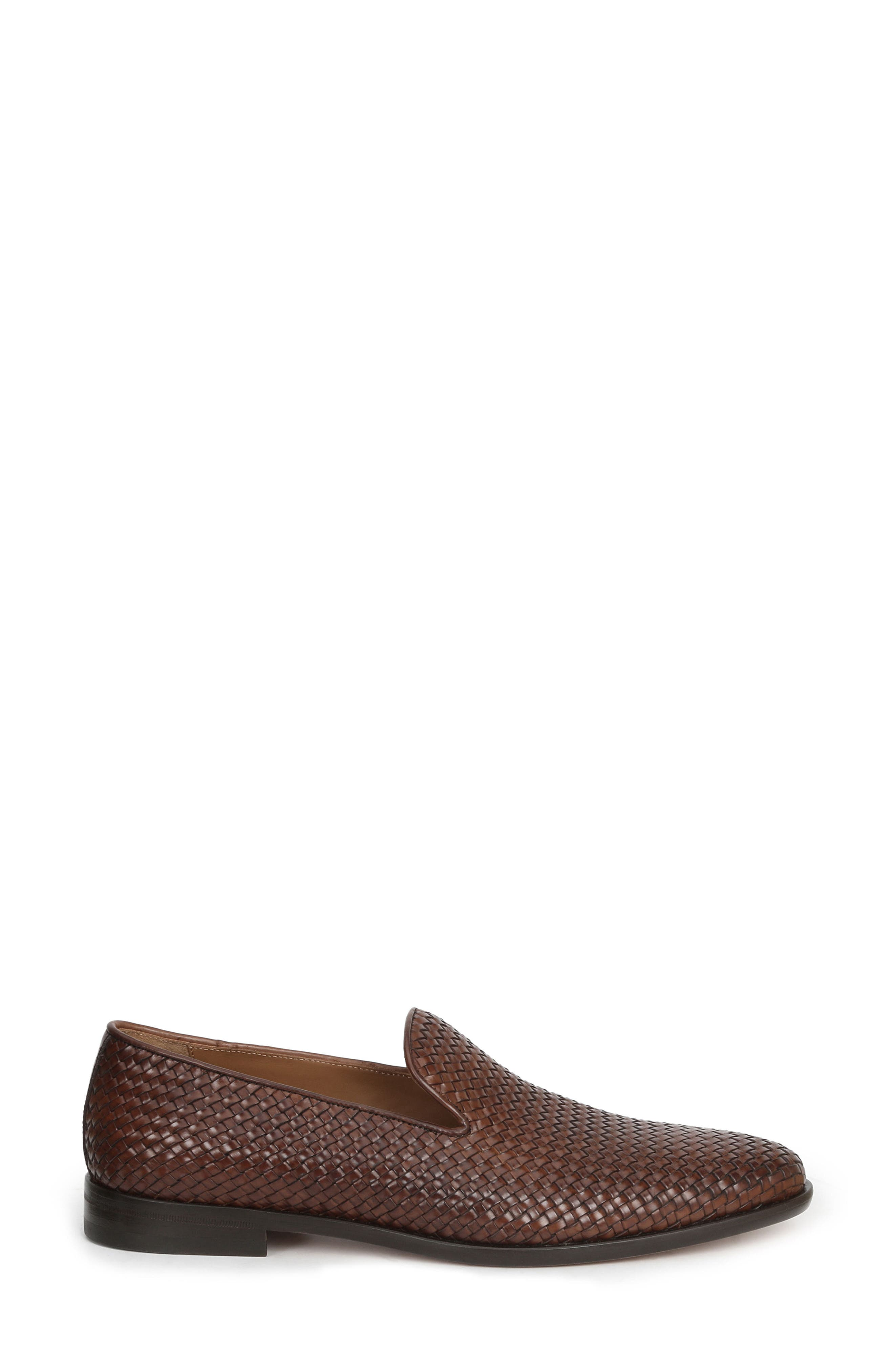 Picasso Woven Venetian Loafer,                             Alternate thumbnail 3, color,                             Cognac