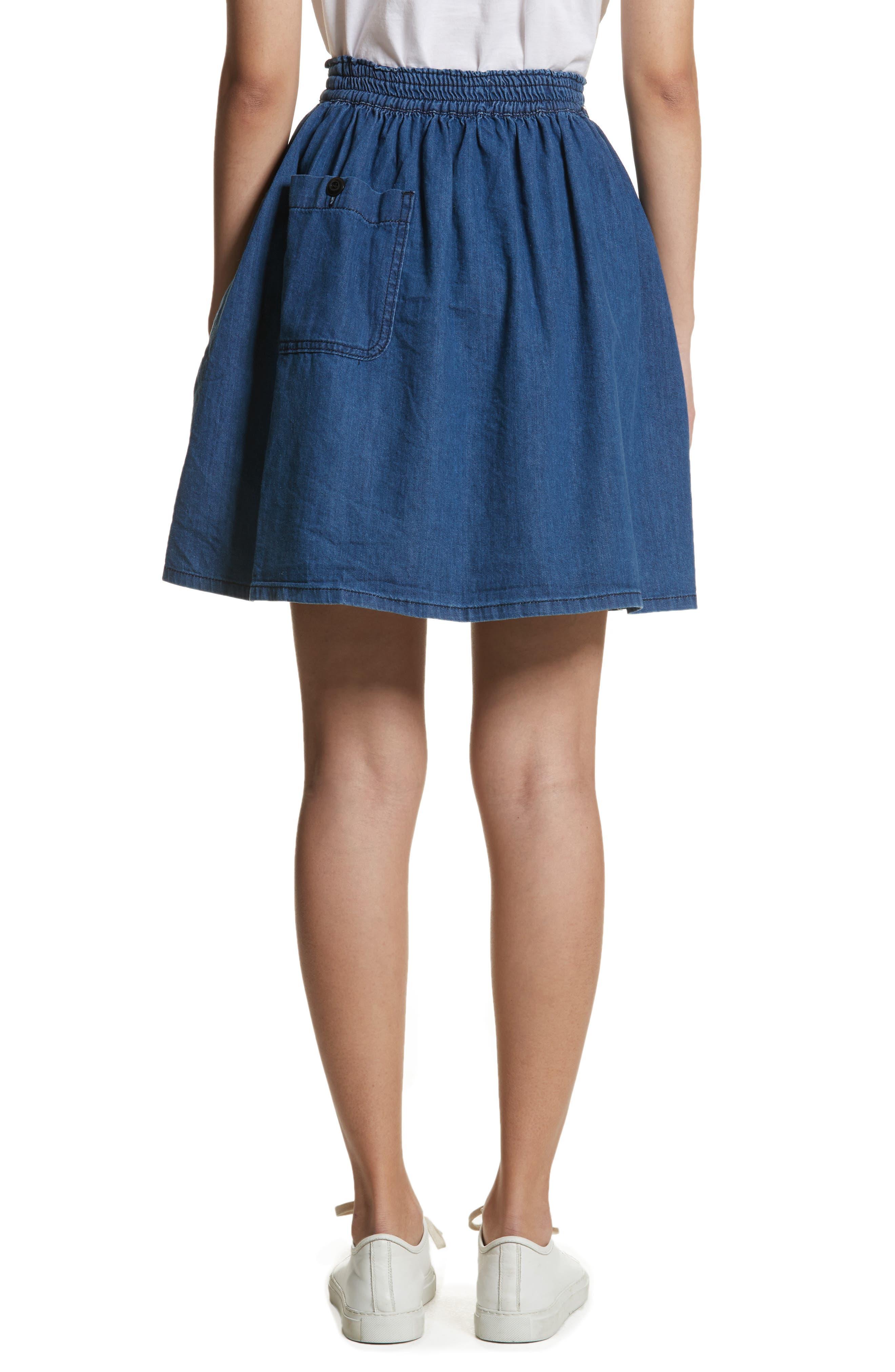 The Great Court Denim Skirt,                             Alternate thumbnail 2, color,                             Vibrant Blue Wash