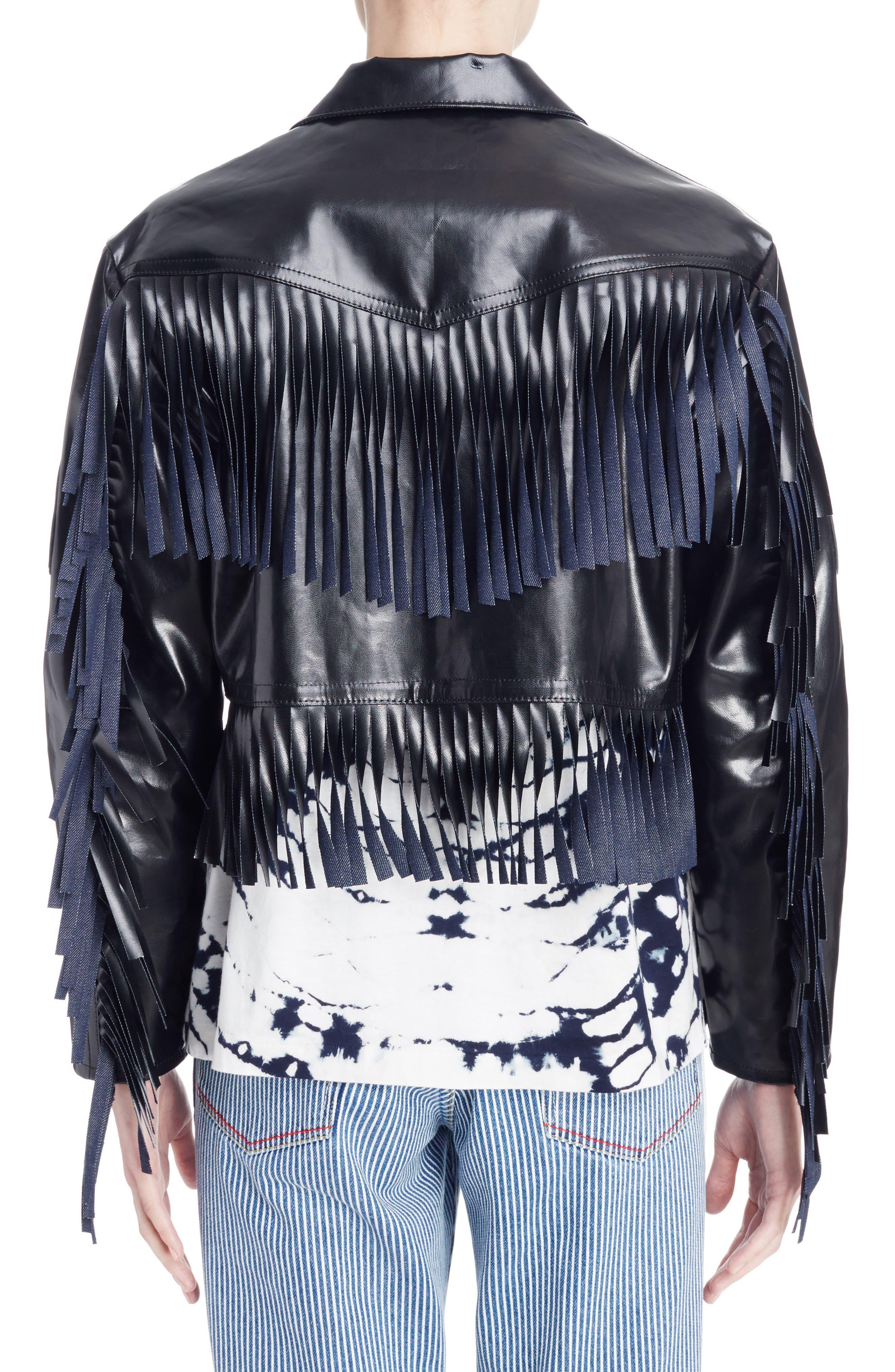 Alternate Image 2  - Toga Fringed Coated Denim Jacket