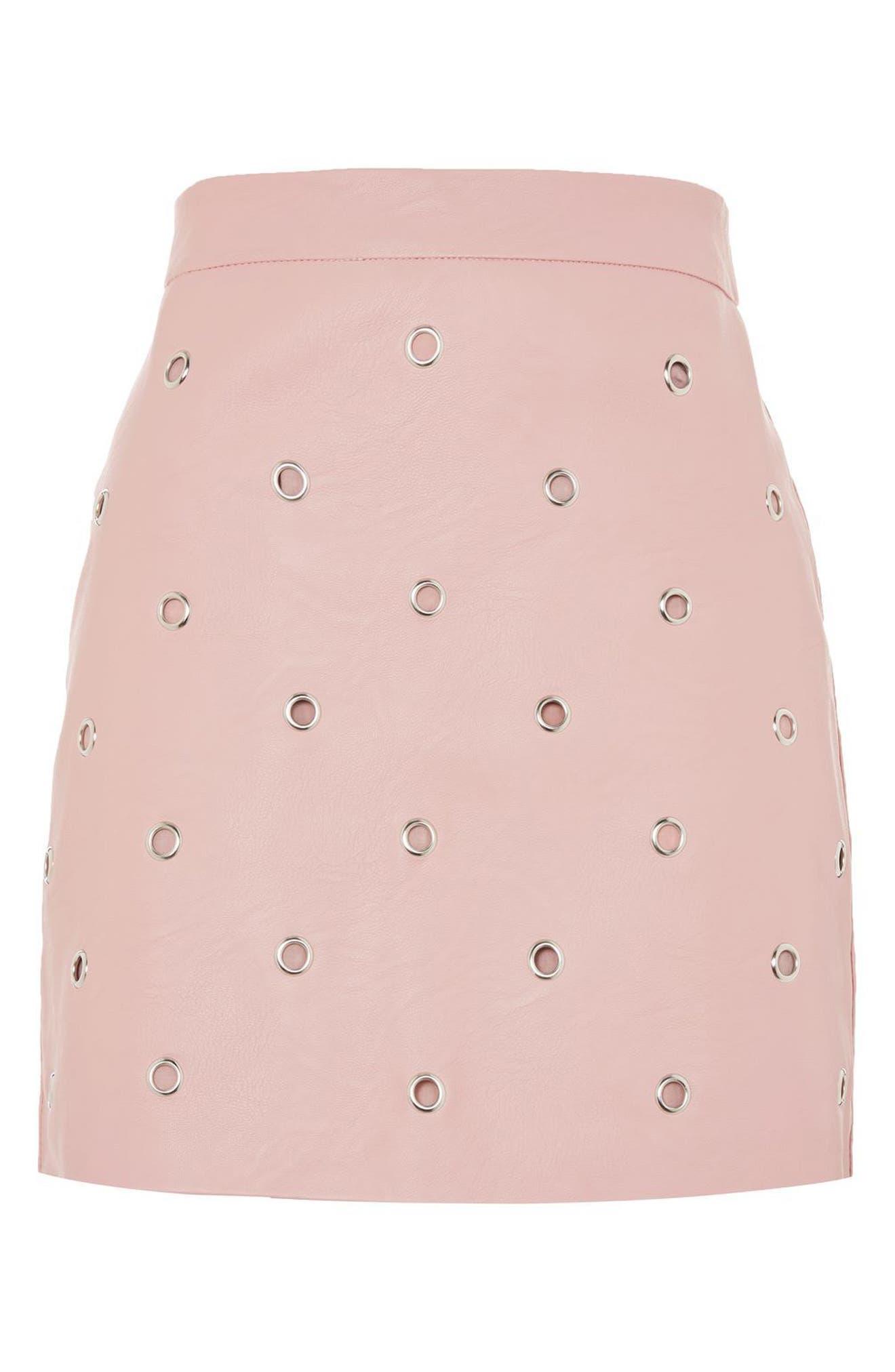 Alternate Image 3  - Topshop Grommet Faux Leather Skirt